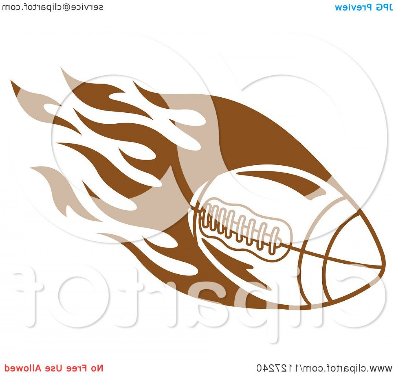 Tribal Football Vector Art: Brown American Football With Tribal Flames
