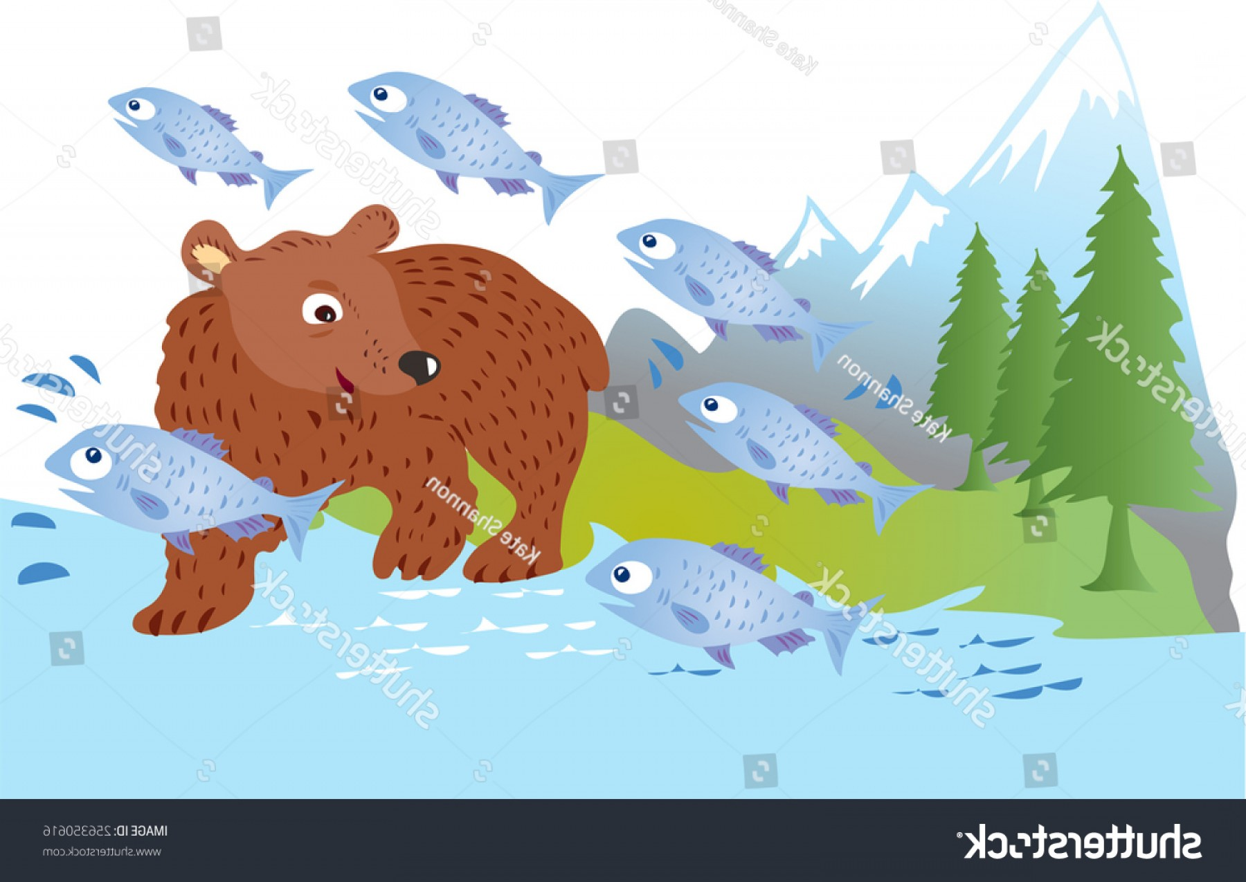 Vector Art Bear With Salmon: Brown Bear Fishing Salmon River