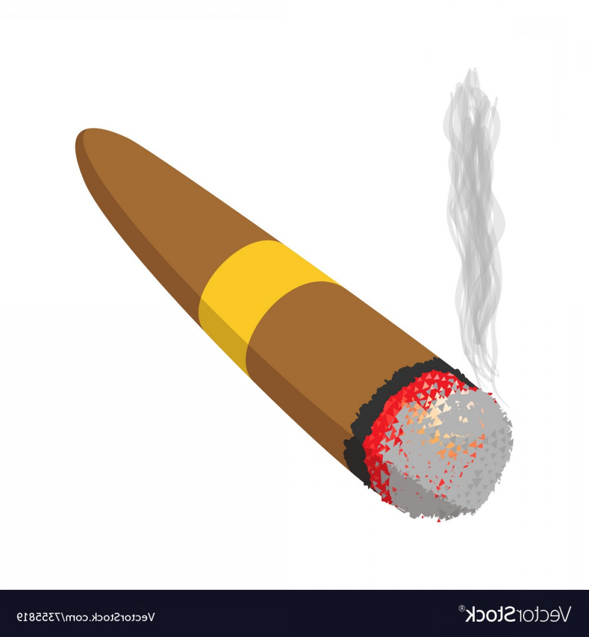 Cigar Cartoon Vector: Brown Cigar Burned Cartoon Icon Vector
