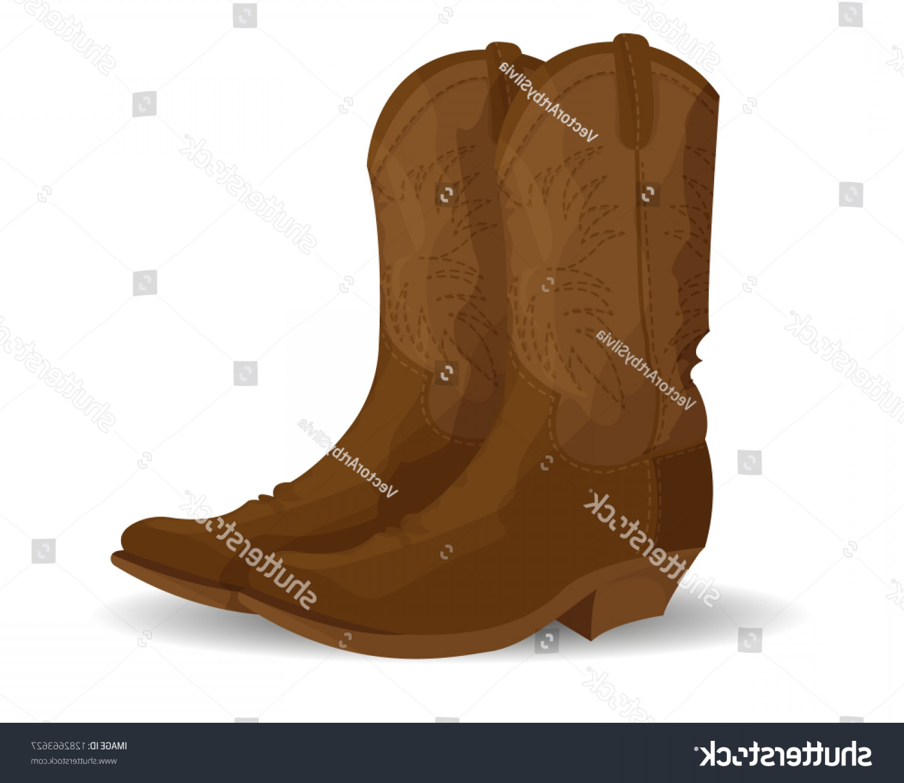 Two Cowgirl Boots Vector: Brown Cowboy Boots Isolated On White