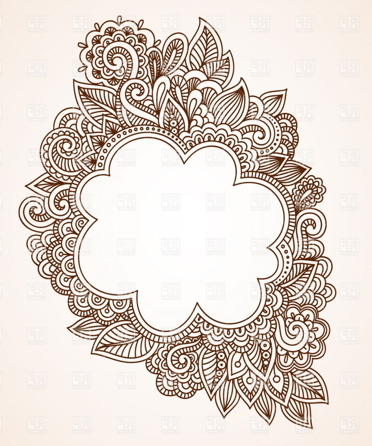 Filigree Oval Frame Vector: Brown Ethnic Floral Frame Vector Clipart