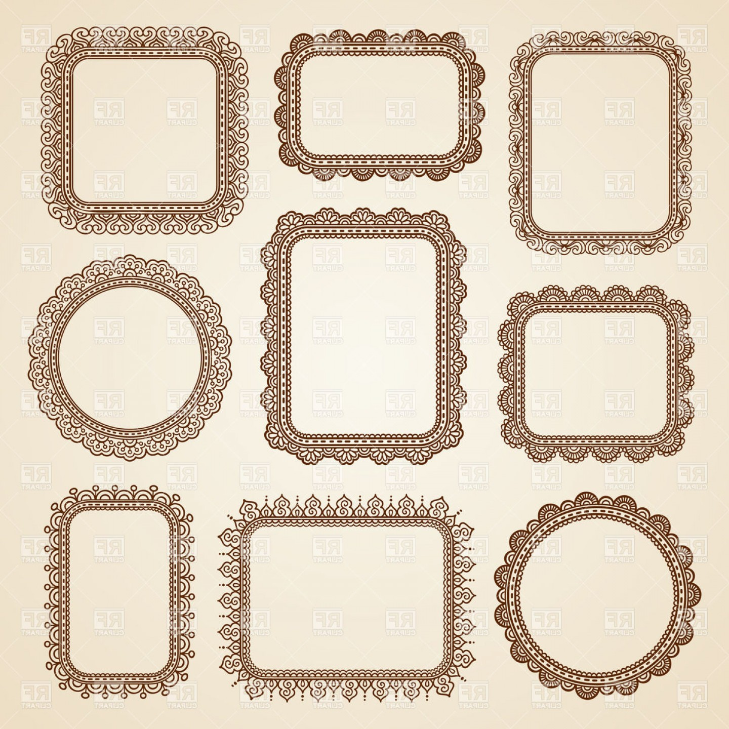 Vector Clip Art Collections: Brown Lace Frames Collection Vector Clipart