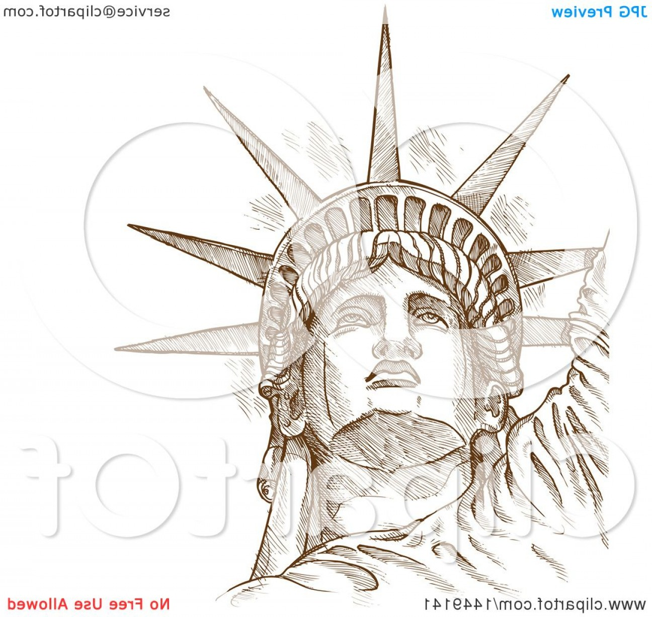 Statue Of Liberty Face Vector: Brown Sketched Or Engraved Statue Of Liberty Face