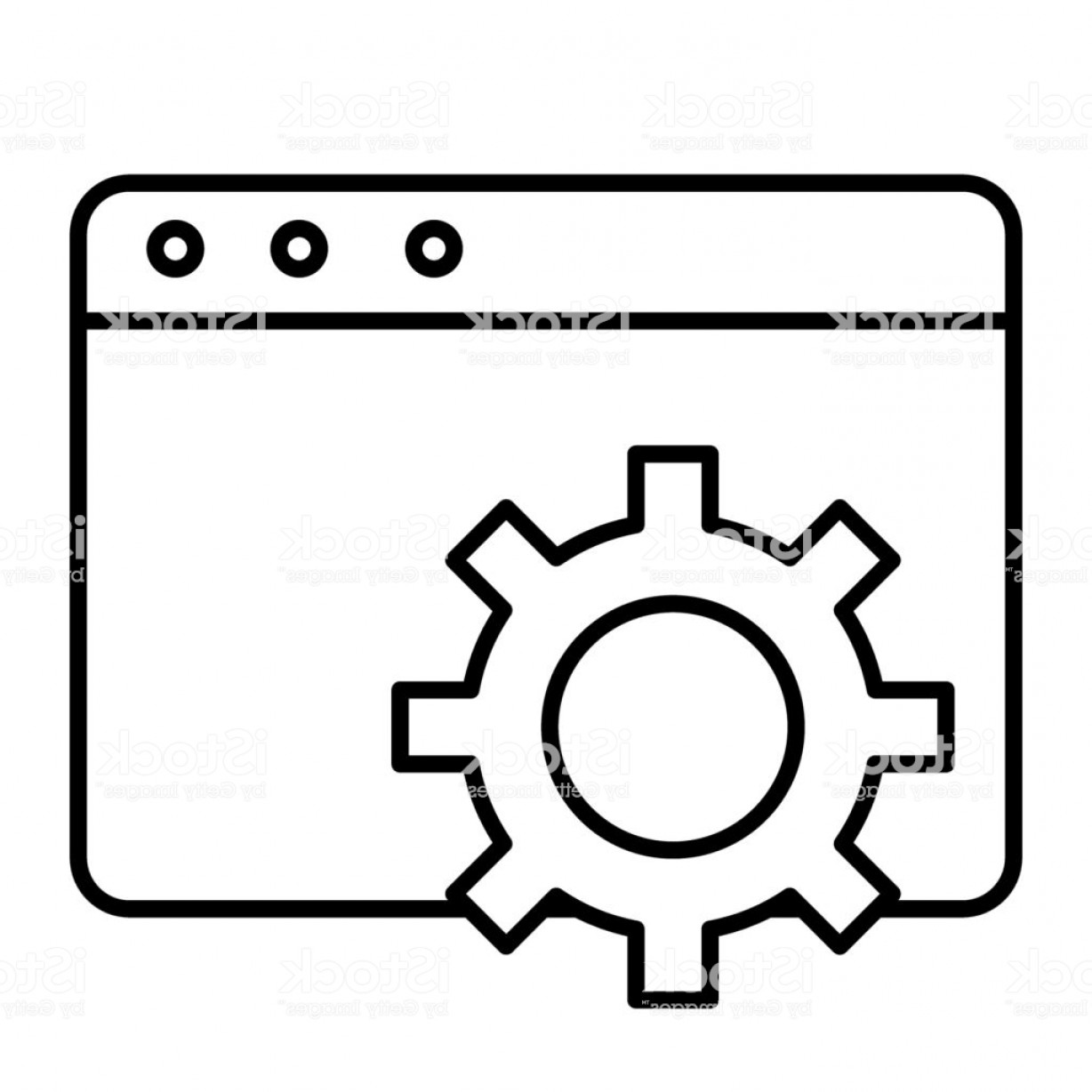Windows 8 Phone Icon Vector: Browser Settings Thin Line Icon Computer Settings Vector Illustration Isolated On Gm