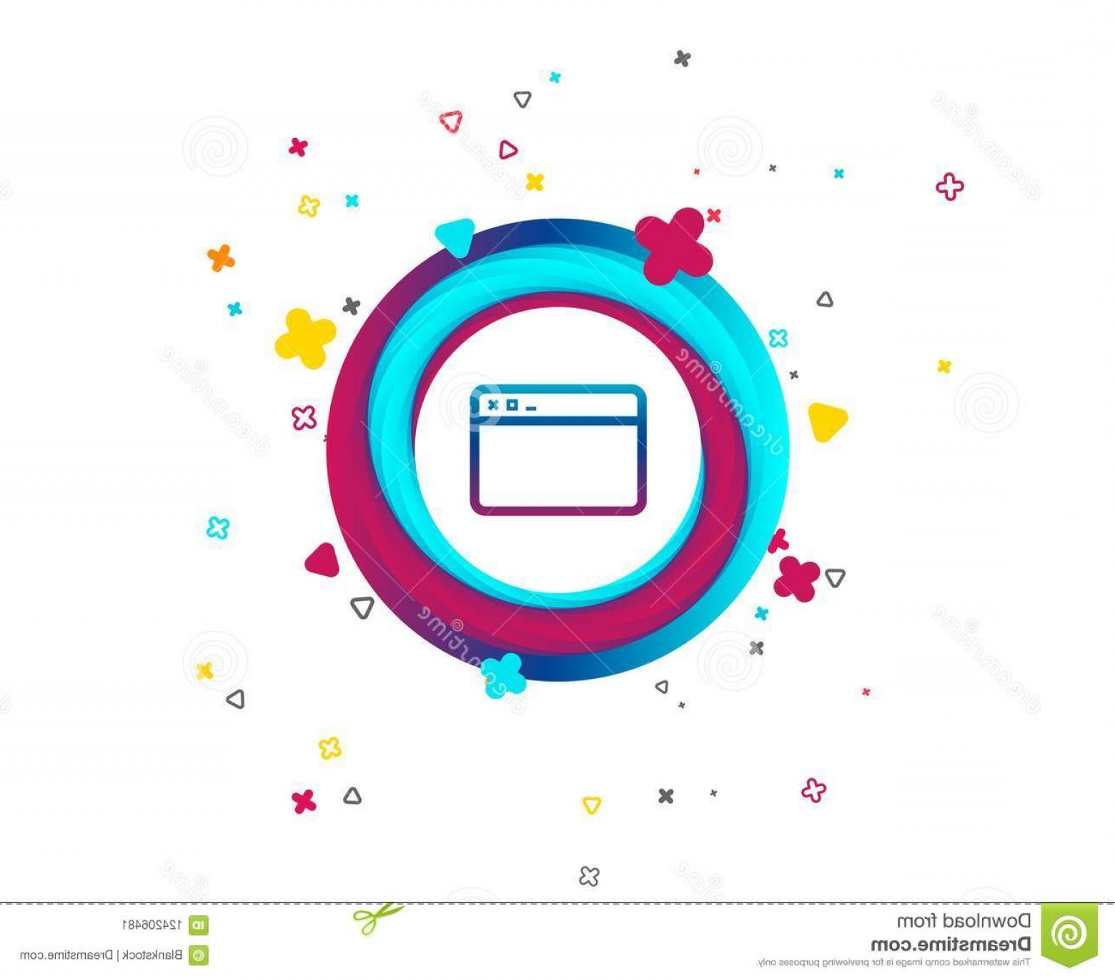 Windows 8 Phone Icon Vector: Browser Window Icon Internet Page Sign Browser Window Icon Internet Page Symbol Website Empty Template Sign Colorful Button Image