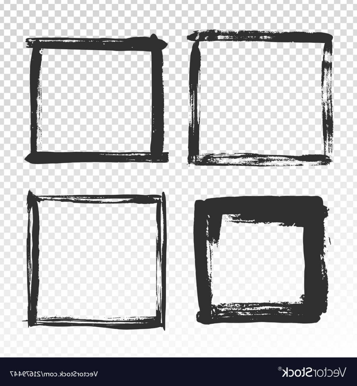 Square Black Vector Border Frame: Brush Strokes Frame Black Grunge Square Borders Vector
