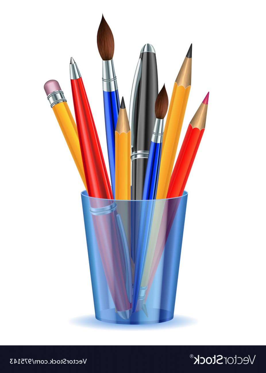 Vector Pencil Holder: Brushes Pencils And Pens In The Holder Vector