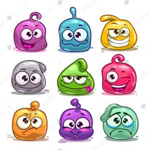 Blob Emoji Vector: Bright Color Slime With Negative Emotions