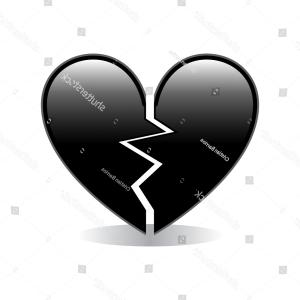 Hear Emoji Vectors: Broken Black Heart Emoji Vector