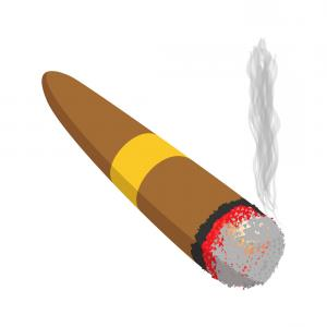 Cigar Cartoon Vector: Funny Cartoon Bomb With Cigar Vector