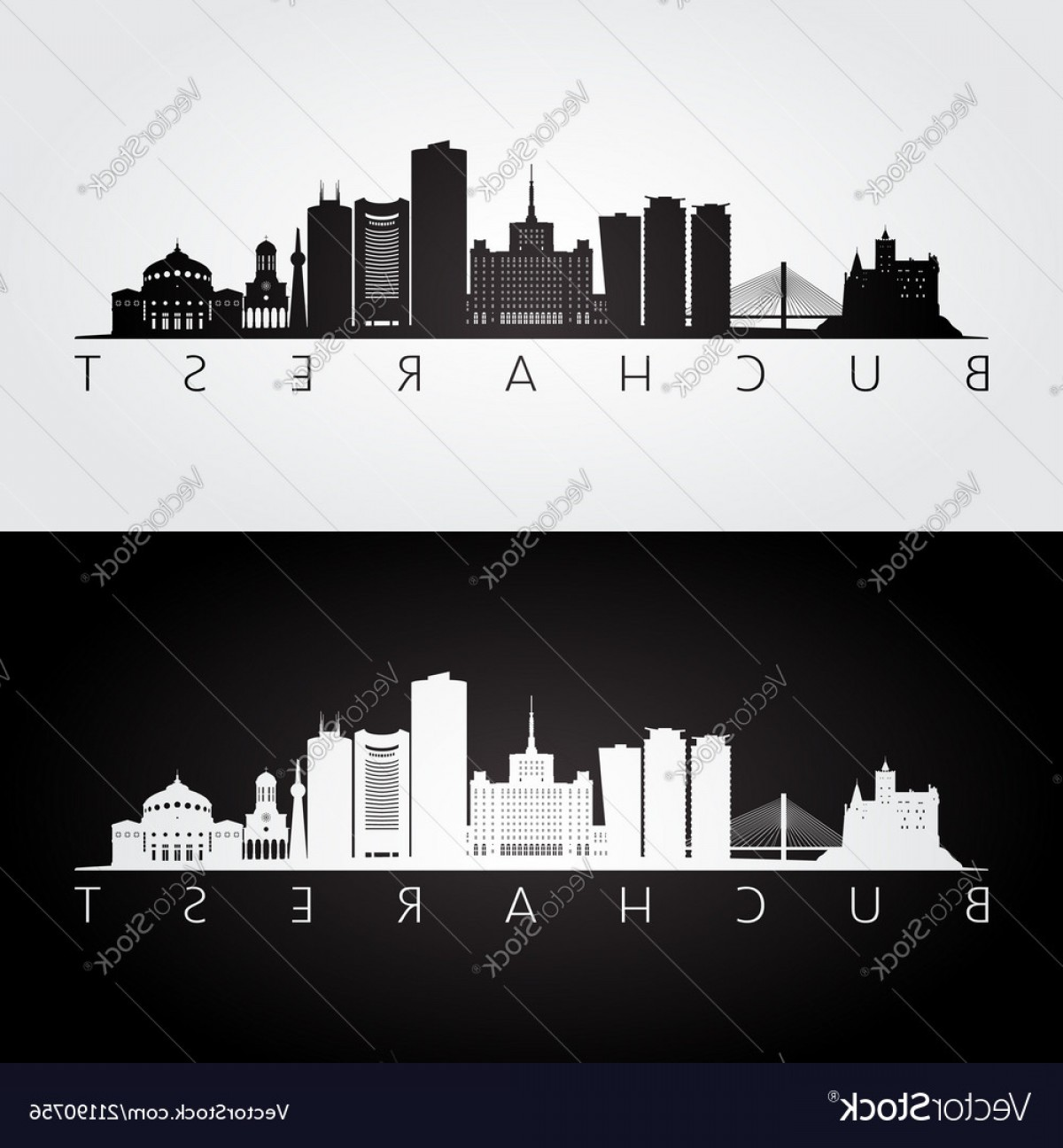 Wicked Boston Skyline Silhouette Vector: Bucharest Skyline And Landmarks Silhouette Vector
