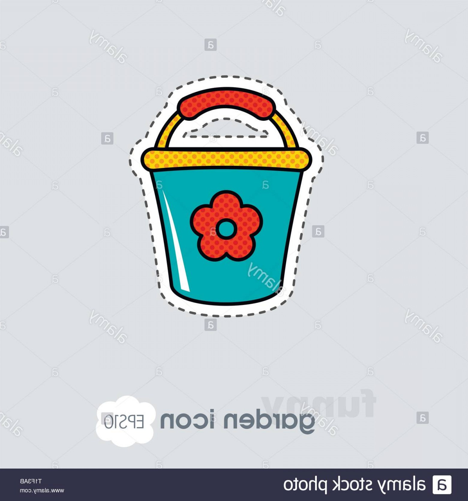 Snow Cone Outline Vector: Bucket Flat Vector Icon Outline Isolated Garden Eps Image
