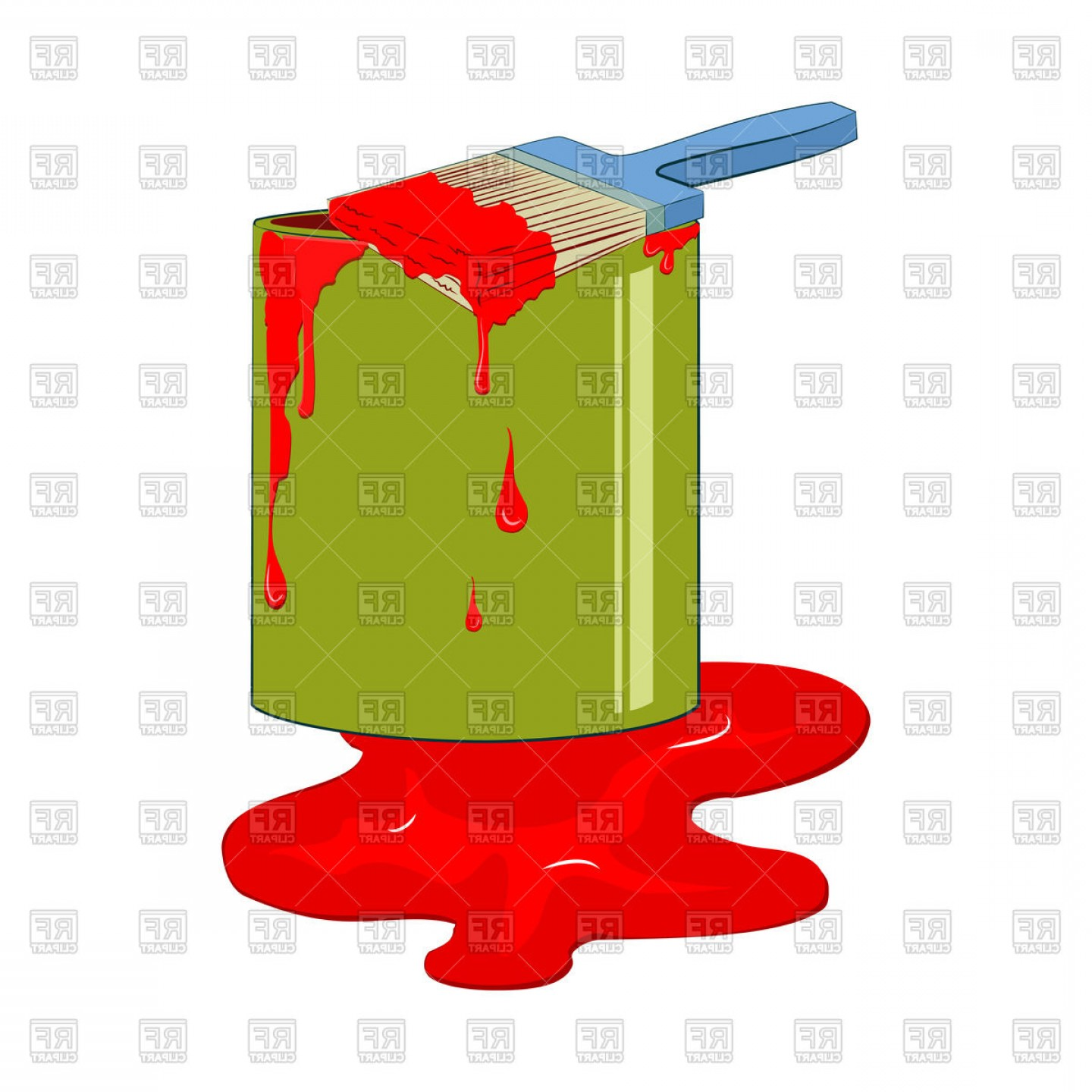 Dripping Paint Vector Illustration: Bucket Red Paint With Dripping Paint Brush Vector Clipart