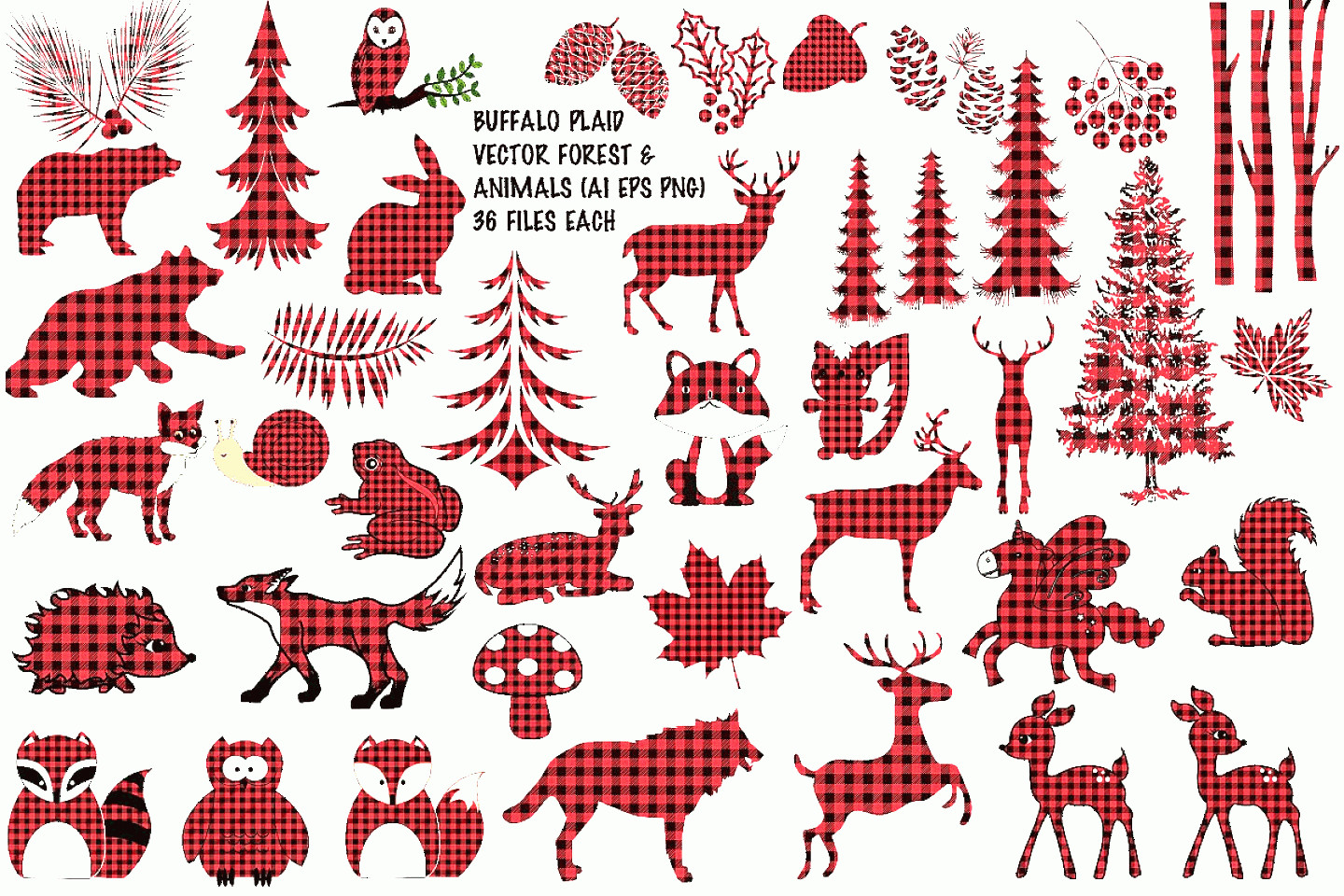 Plaid Vector: Buffalo Plaid Vector Animals And Elements Ai Eps Vecor And Png