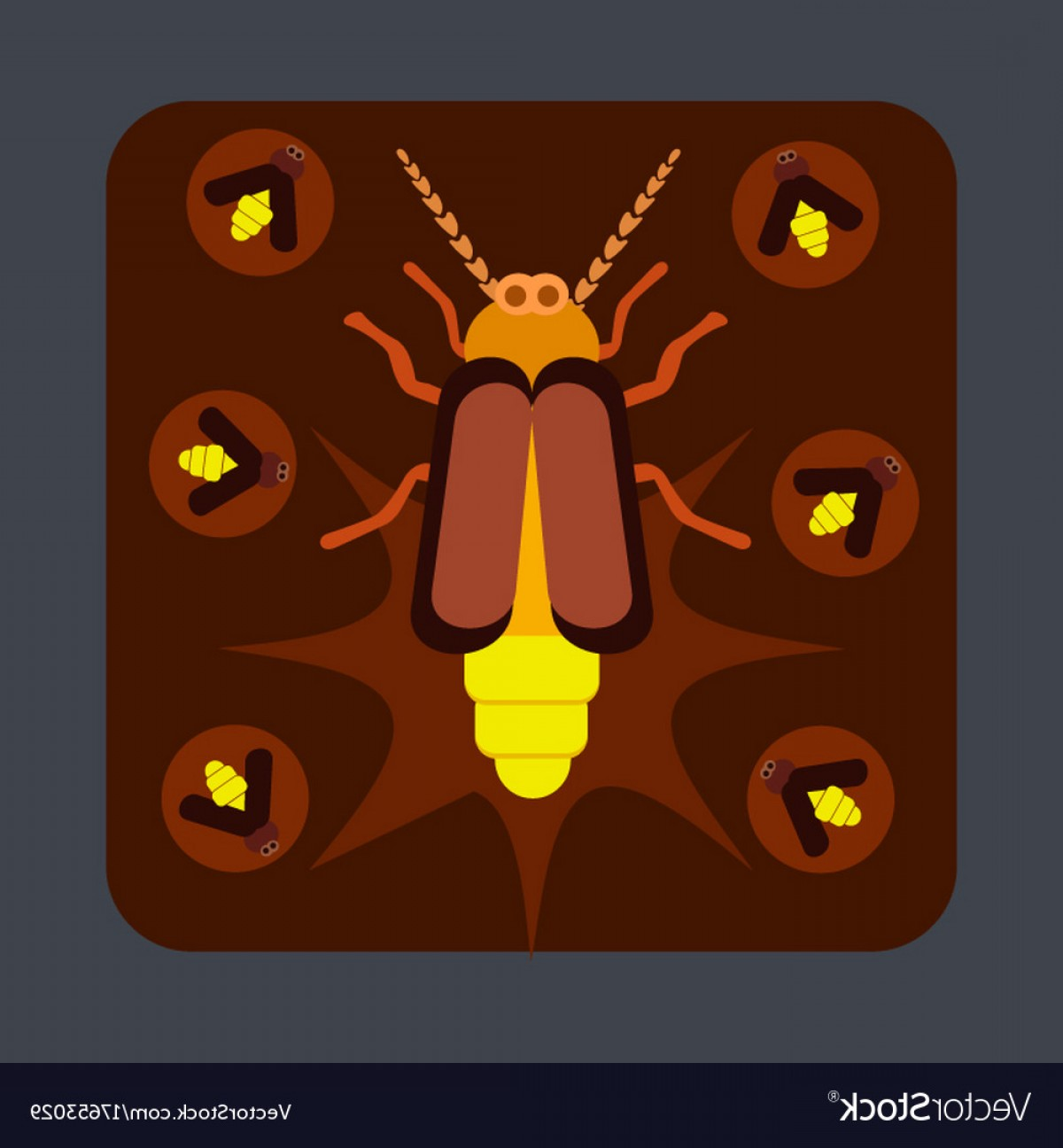 Vector Insect Light: Bug Light Concept Background Cartoon Style Vector