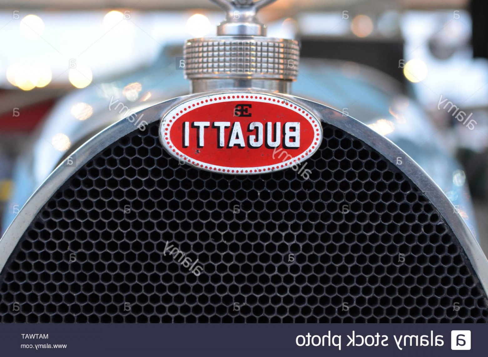 Race Car Grill Vector: Bugatti Race Car Grill And Mascot Image