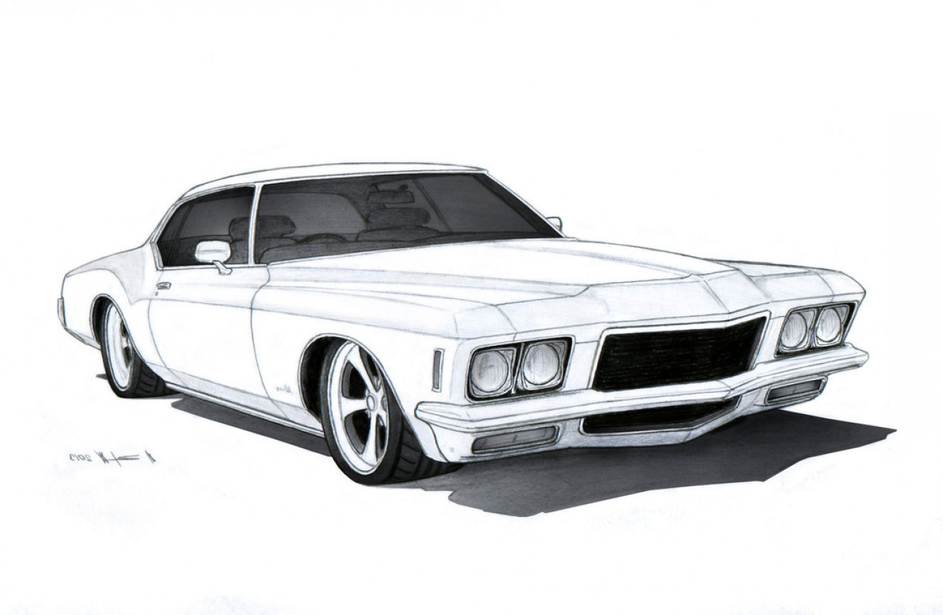 Vector Drawings Of 1966 Riviera: Buick Riviera Custom Drawing