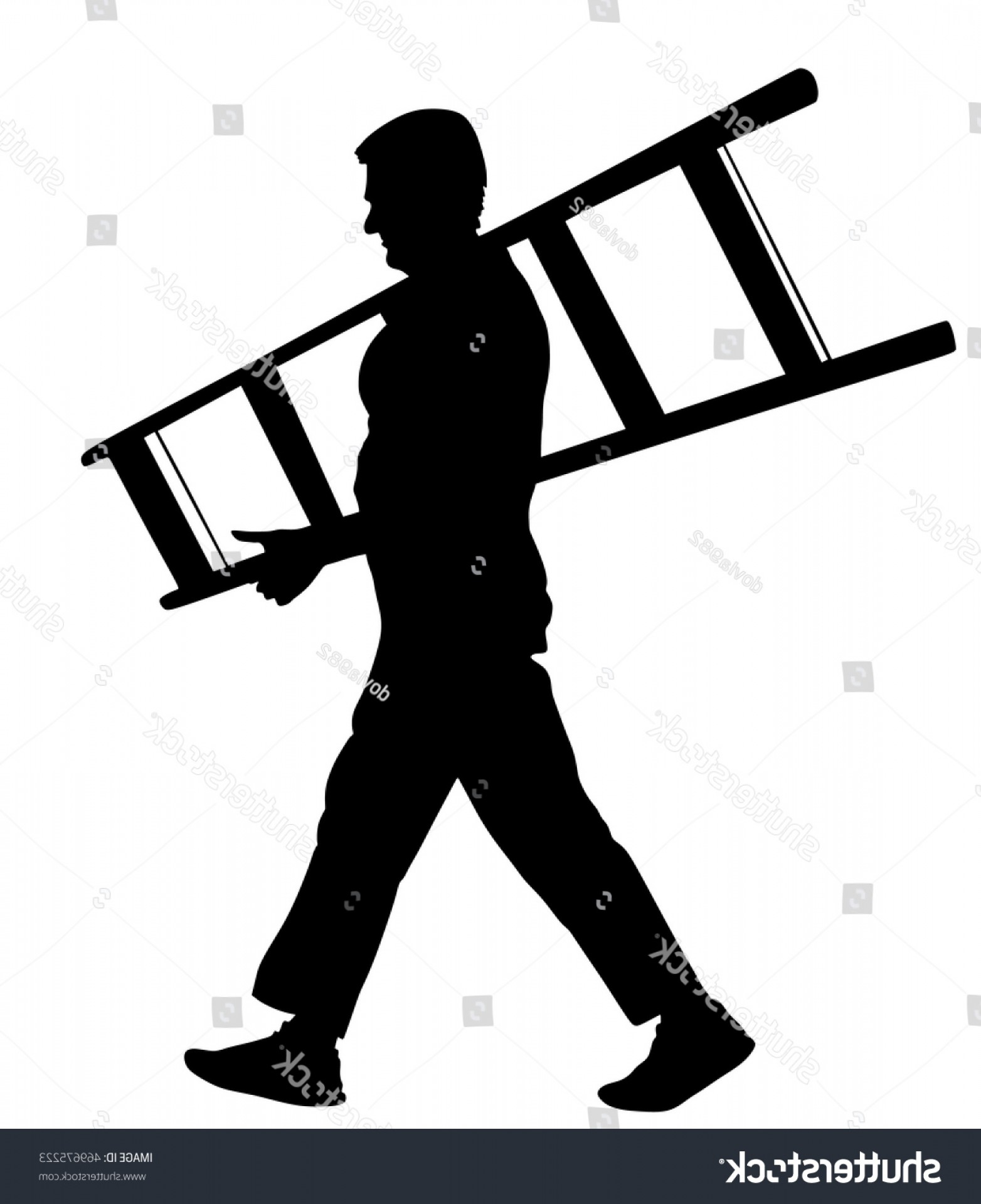 Ladder Silhouette Vector: Builder Carrying Ladder Vector Silhouette Isolated