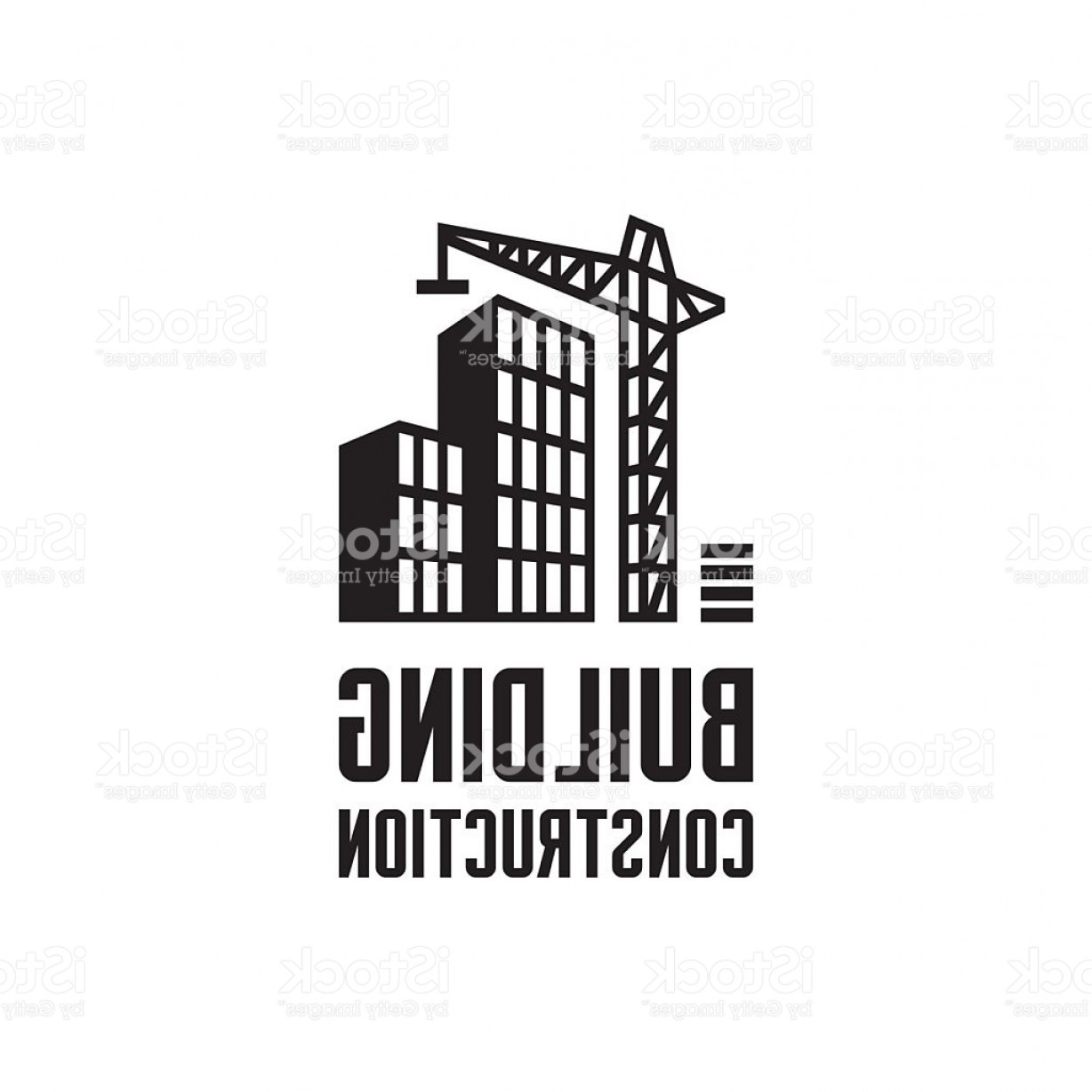 Construction Logos Vector Black And White: Building Construction Logo Illustration Crane And Building Construction Illustration Gm