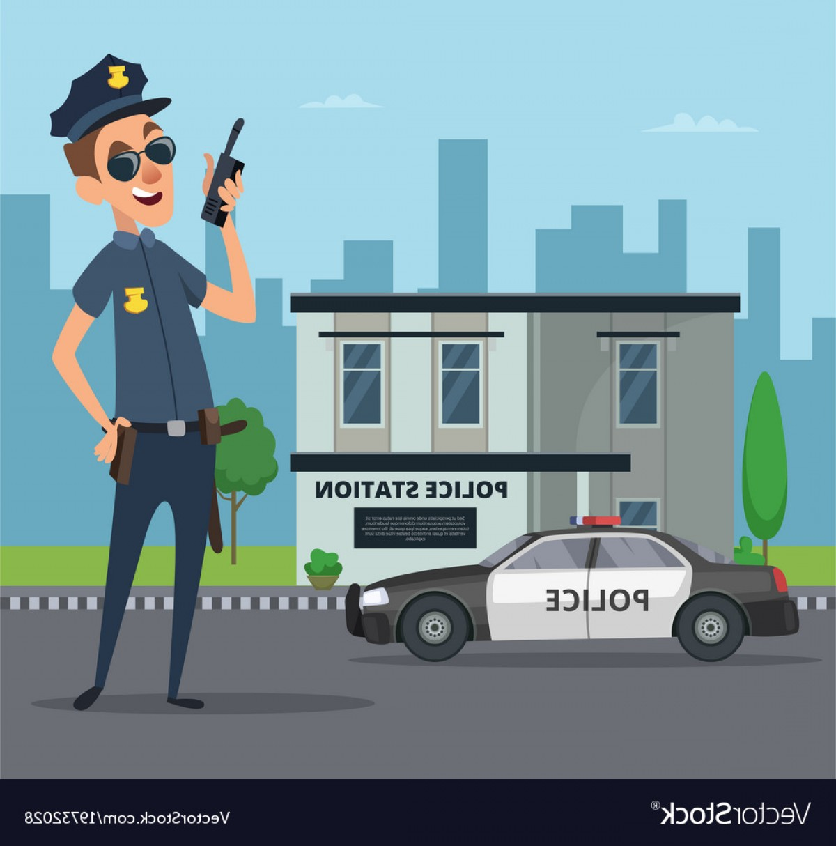 Vector Police Department: Building Of Police Station And Cartoon Character Vector