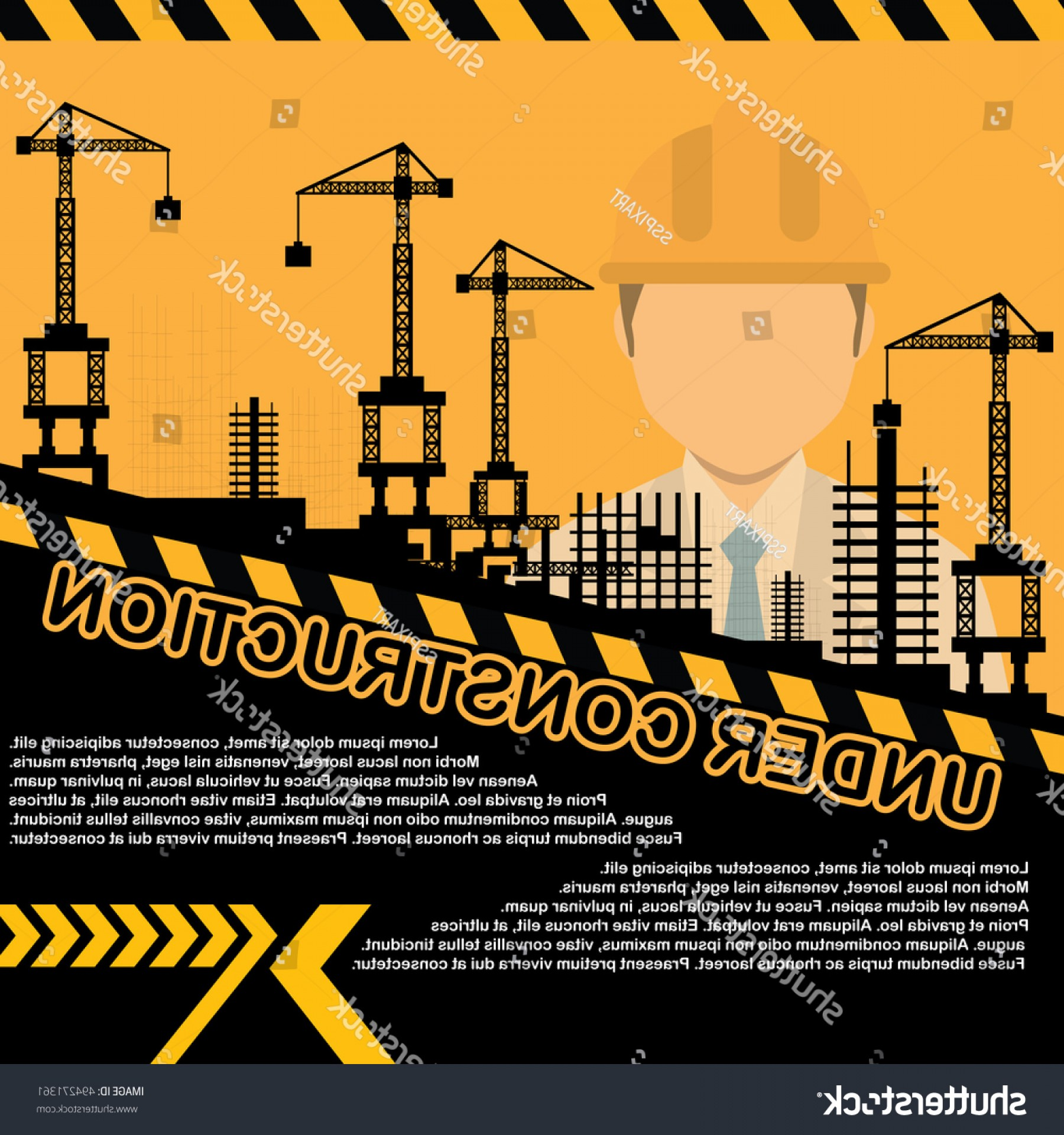 Vector Under Construction Template: Building Under Construction Siteconstruction Infographicsvector Illustration