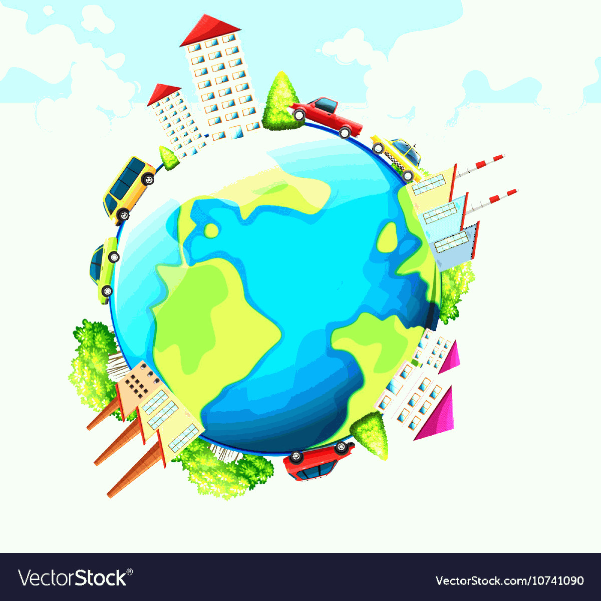 Earth With Buildings Vector: Buildings And Cars On Earth Vector
