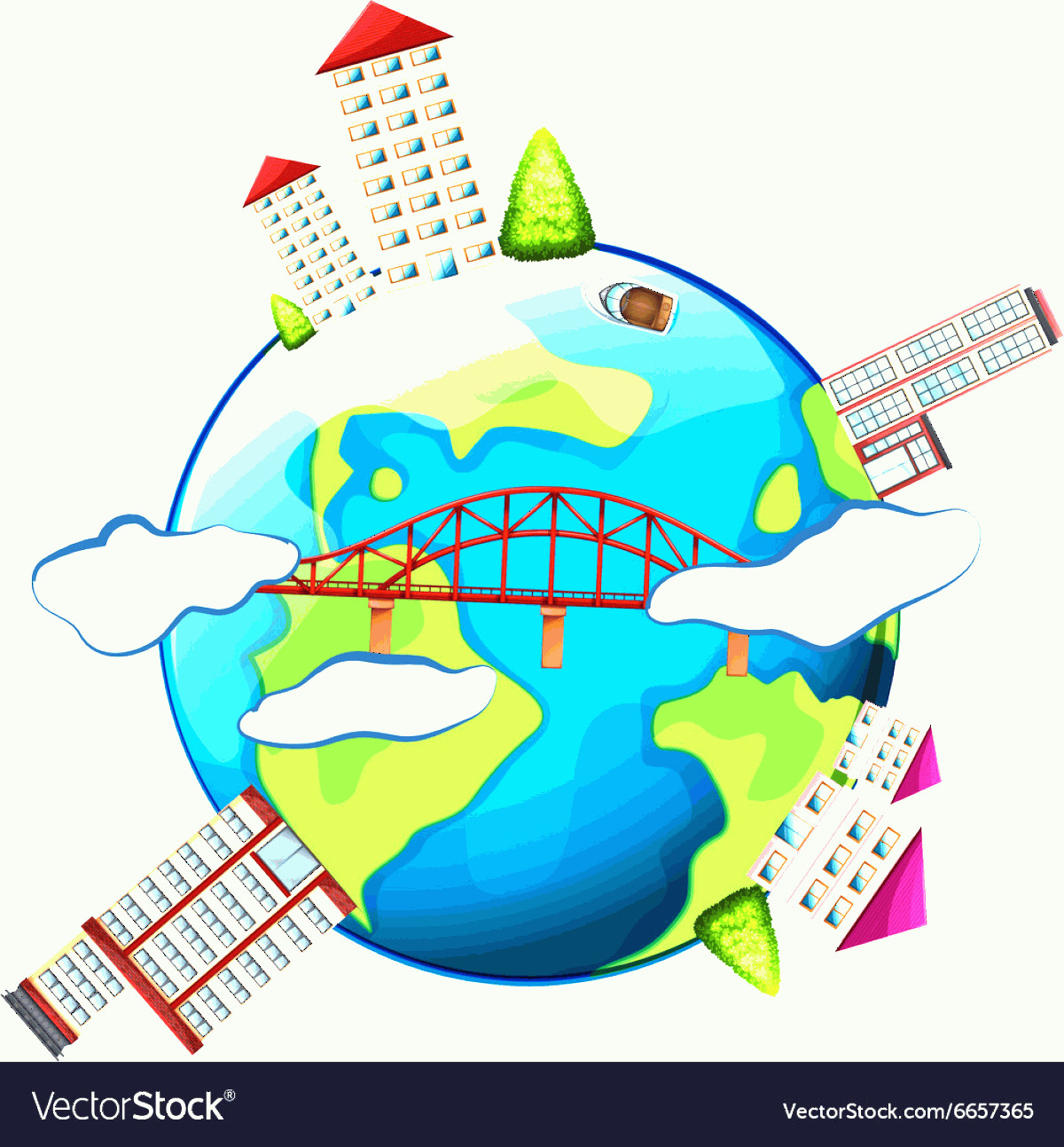 Earth With Buildings Vector: Buildings Around The World Vector