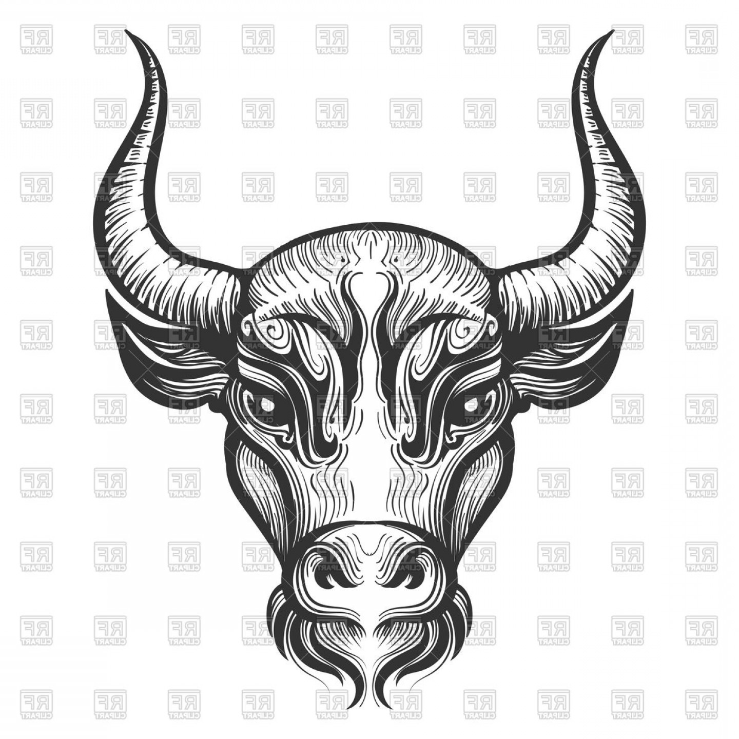 Taurus Vector: Bull Head Engraving Illustration Signs Of Zodiactaurus Vector Clipart