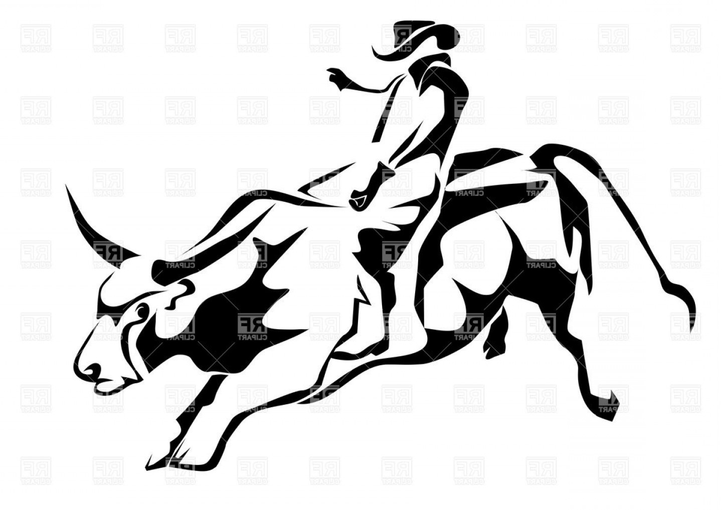 Cowboys Line Drawings Vector: Bull Riding Silhouette Of Cowboy And Bull Vector Clipart