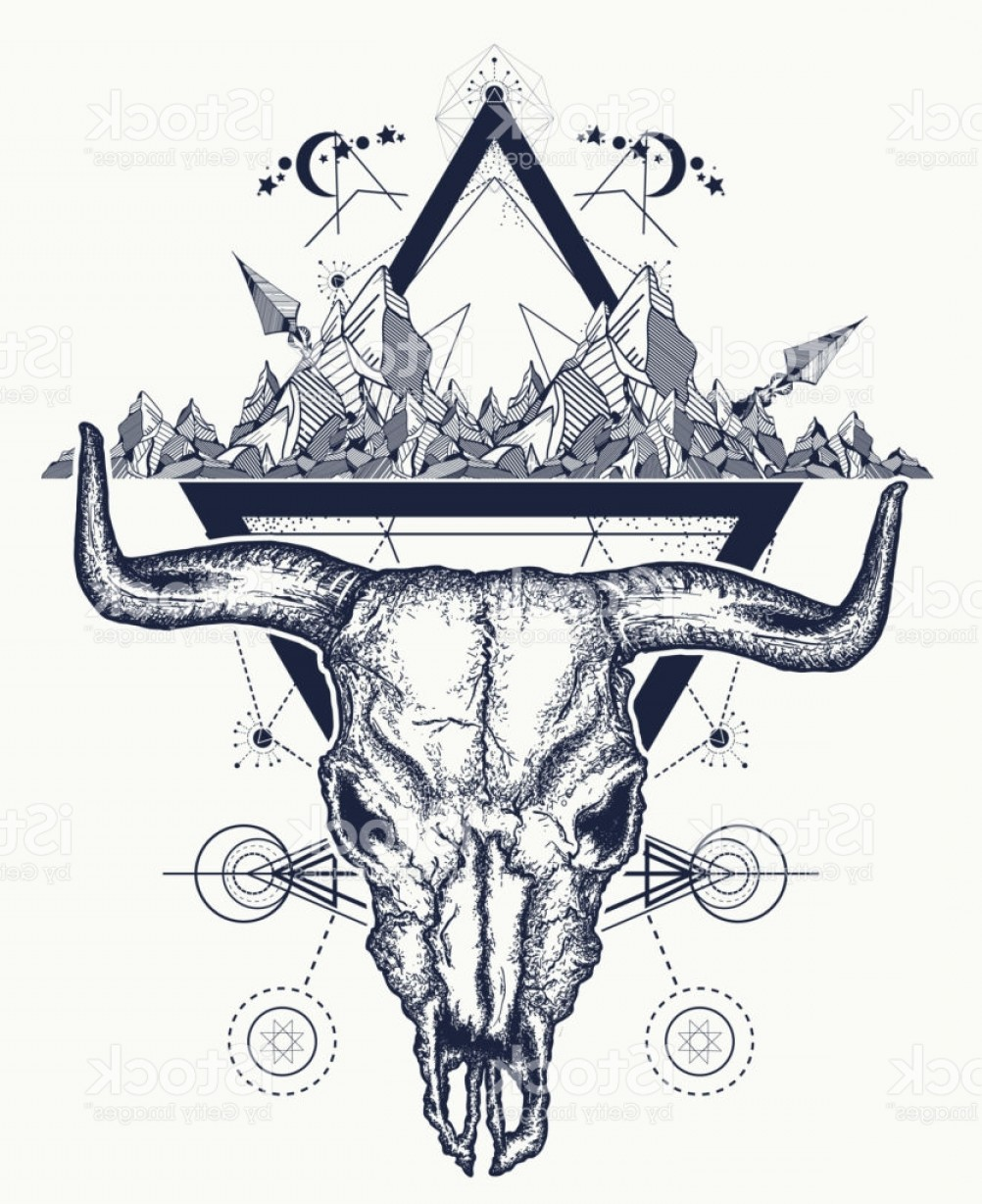Sacred Heart Vector Genius: Bull Skull And Mountains Tattoo Native American Bull Skull Symbol Of Secret Gm