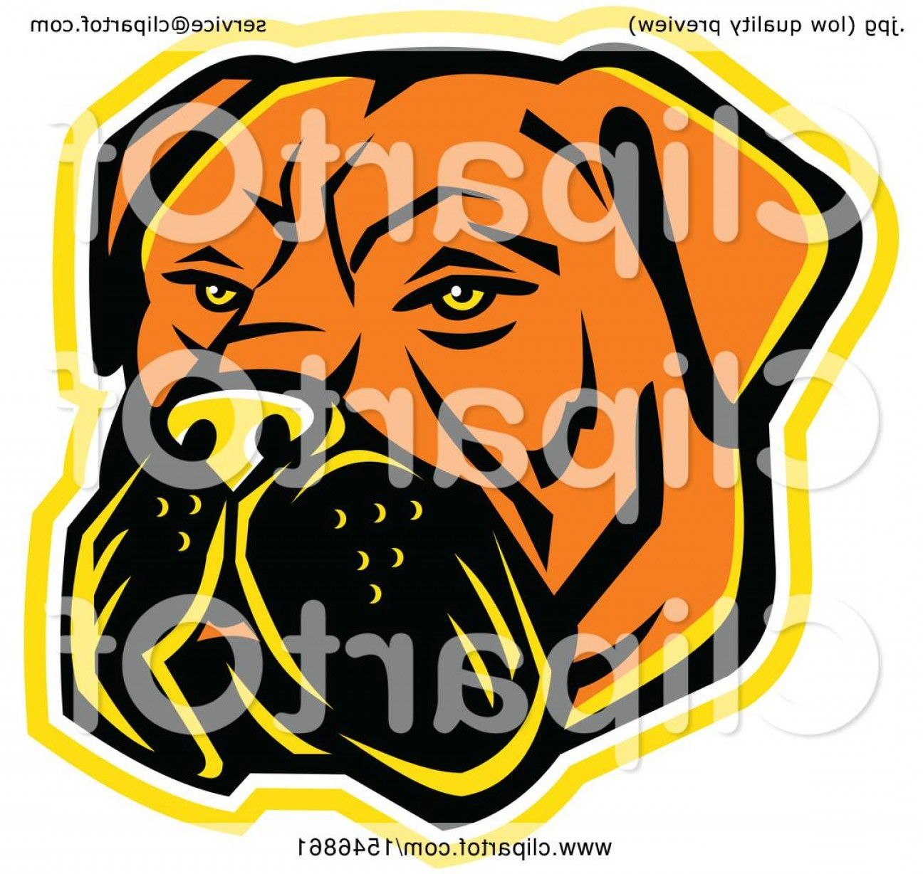 Dog Mascot Vector: Bullmastiff Dog Mascot Head With A Yellow Outline