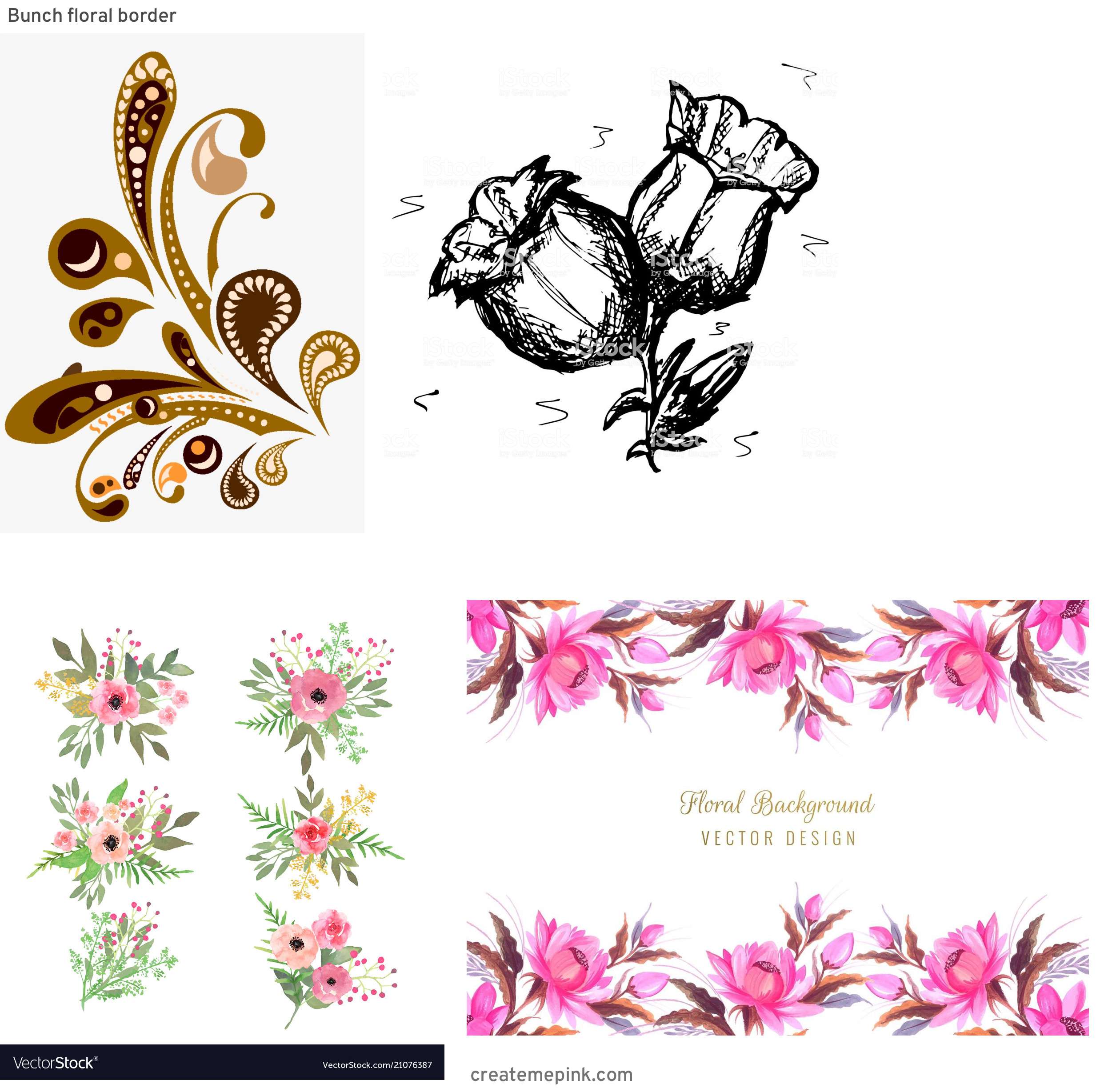 Vector Graphics Floral: Bunch Floral Border