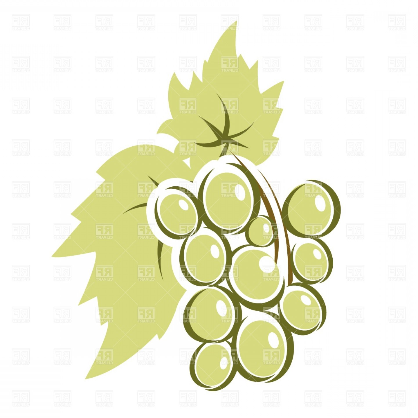 Grapes Clip Art Vector: Bunch Of Grapes With Leaves Vector Clipart