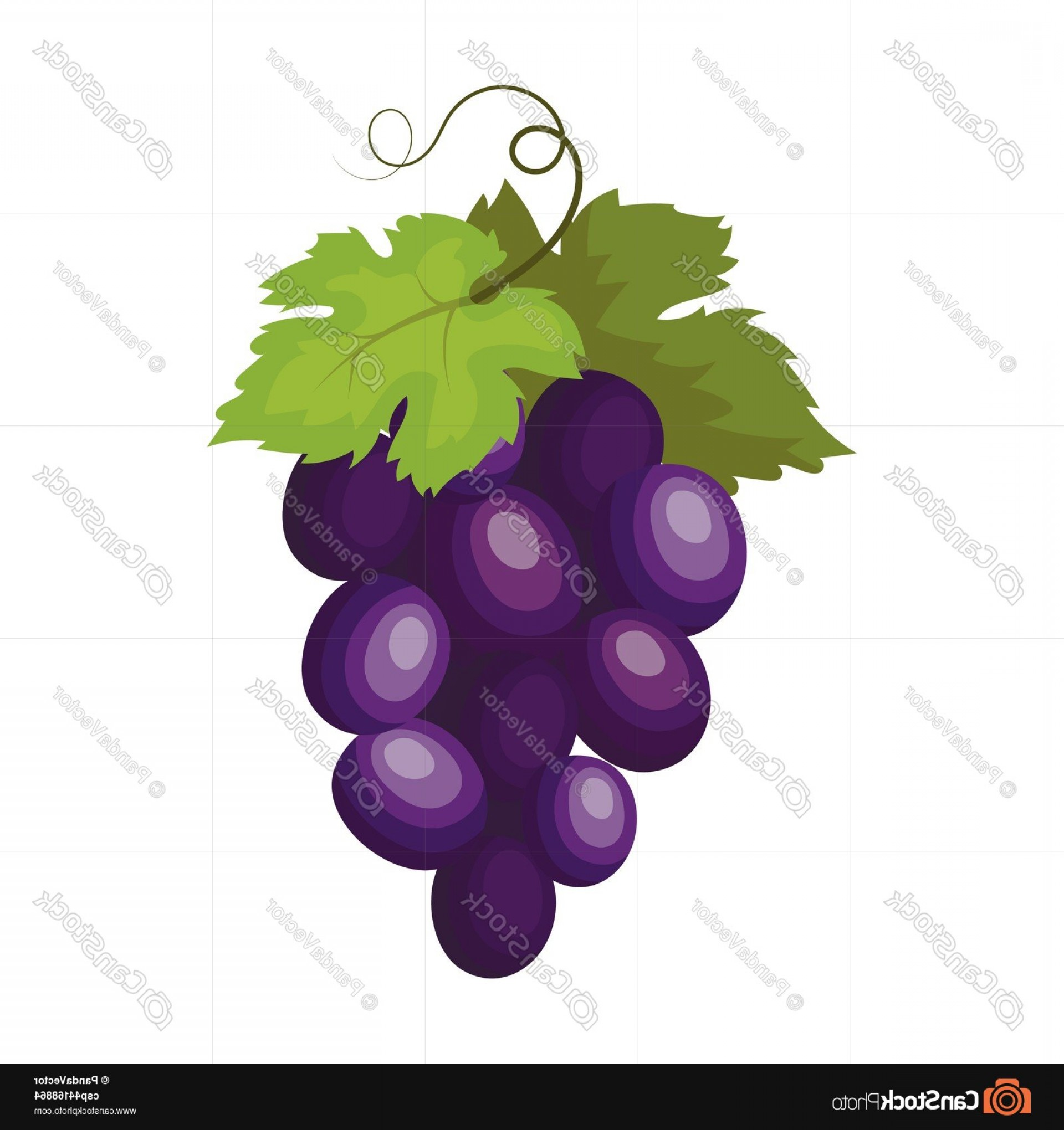 Grapes Clip Art Vector: Bunch Of Wine Grapes Icon In Cartoon