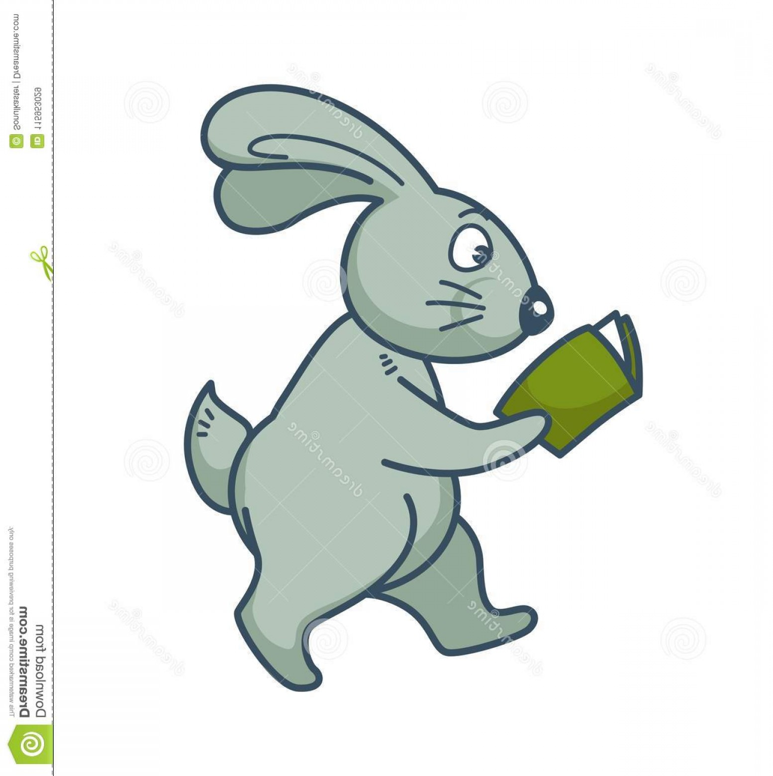 Smarter Vector Art: Bunny Long Ears Walks Reads Book Bunny Long Ears Walks Reads Book Green Hardcover Adorable Forest Animal Image