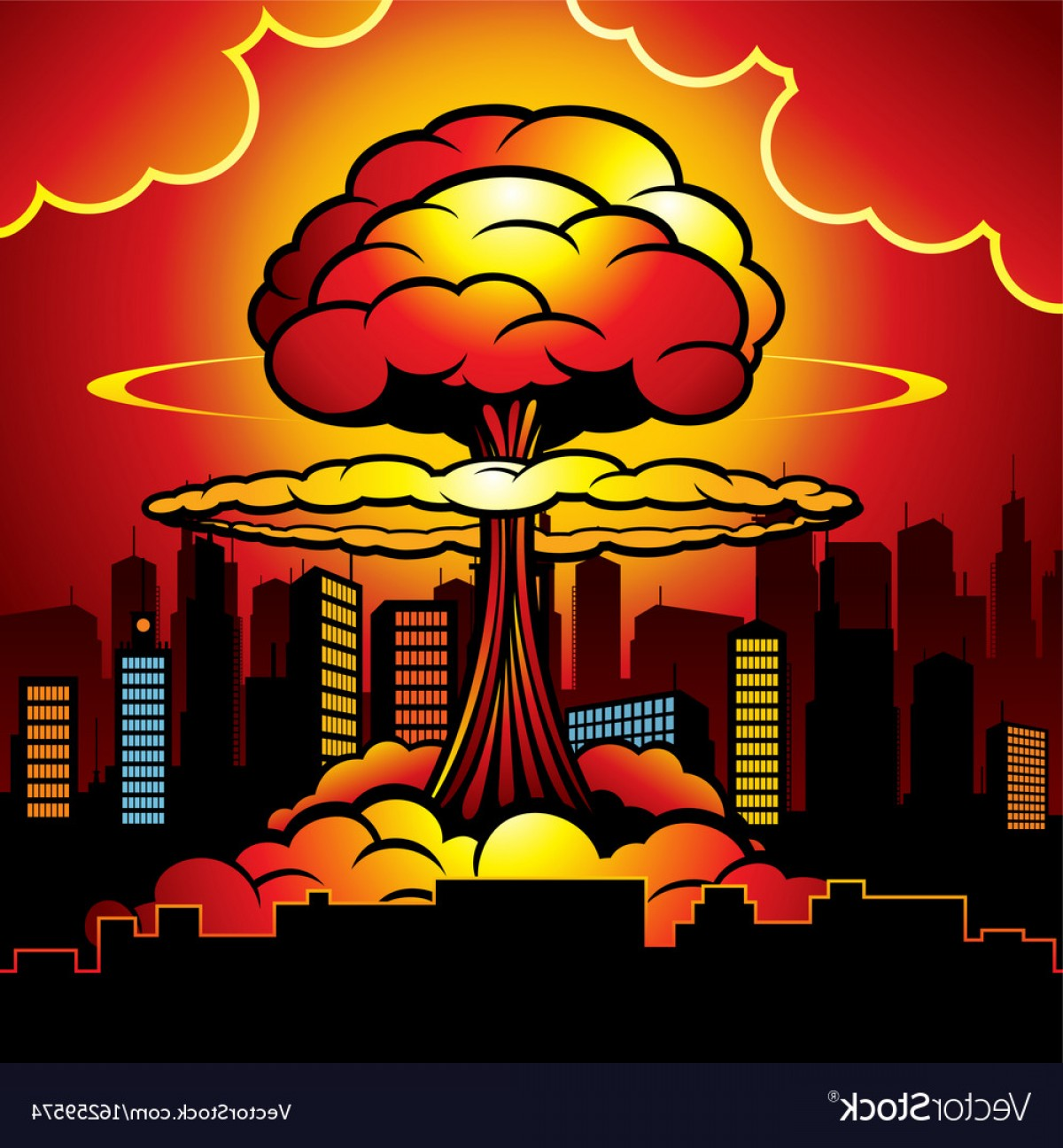 Atomic Bomb Explosion Vector: Burning City With Nuclear Explosion Of Atomic Bomb Vector
