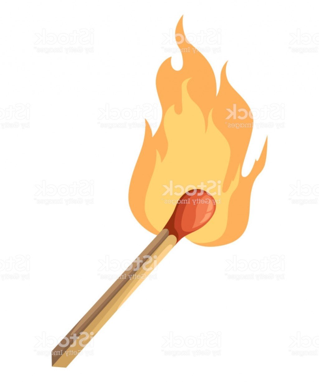 Vector Flame Stick Pattern: Burning Match Stick Illustration Match With Fire Vector Illustration Isolated On Gm