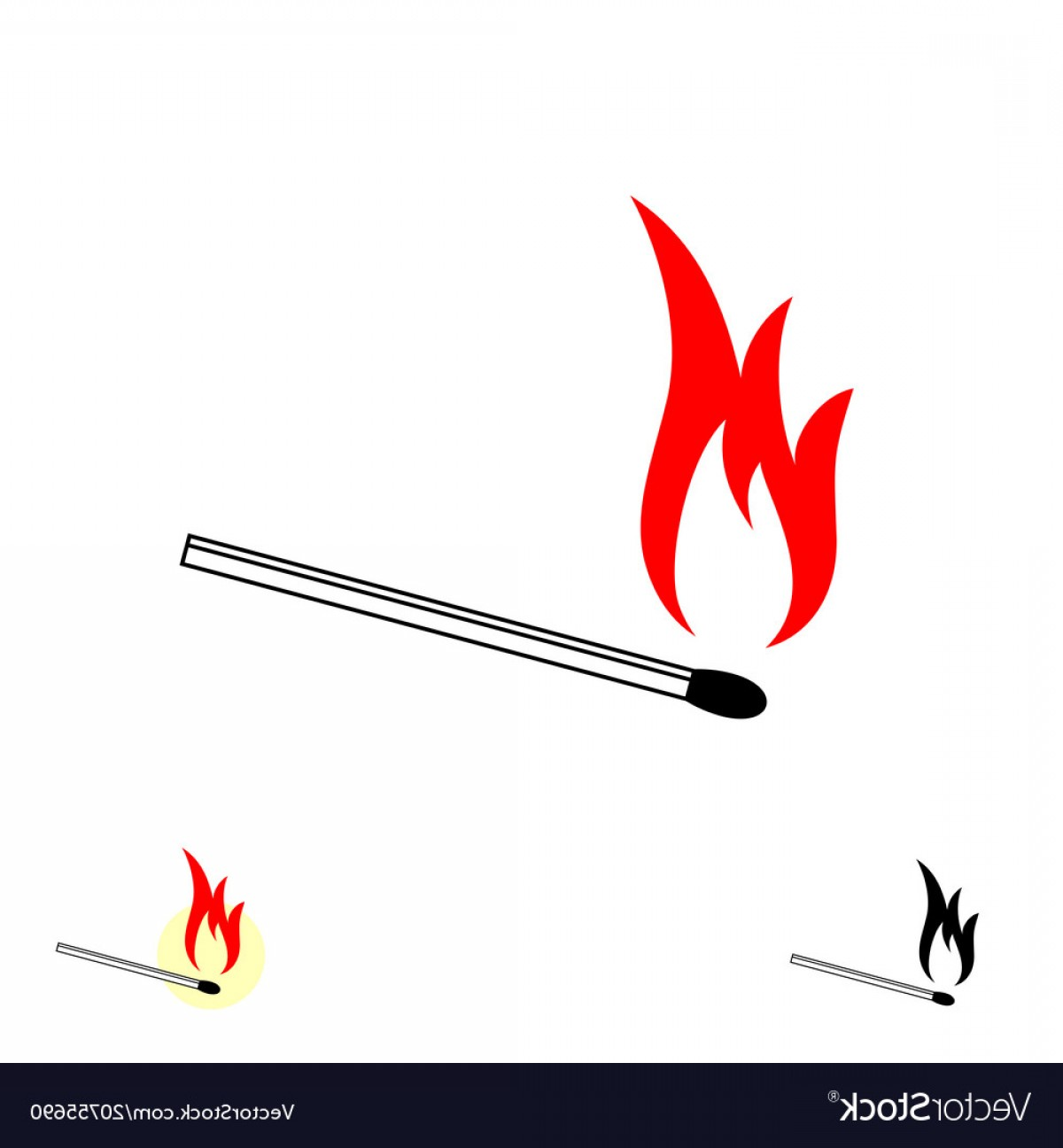 Vector Flame Stick Pattern: Burning Match Stick With Fire Flame Vector