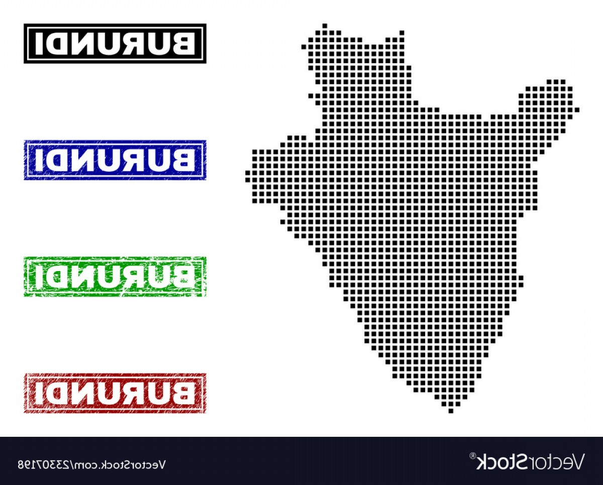 Title Red And Gray Vector: Burundi Map In Dot Style With Grunge Title Stamps Vector