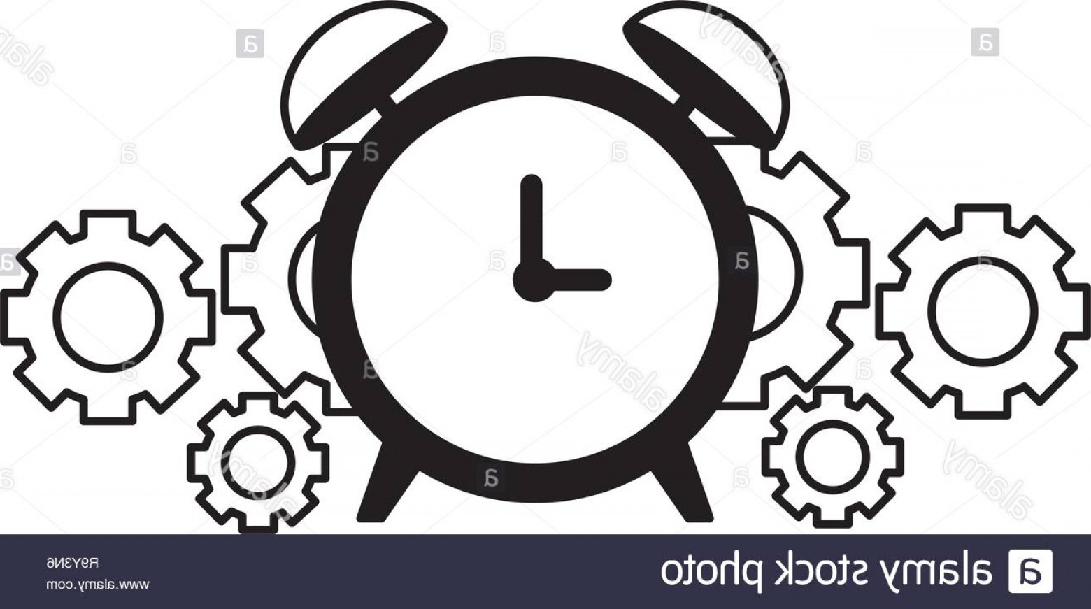 Watch Gears Vector: Business Alarm Clock And Gears Image