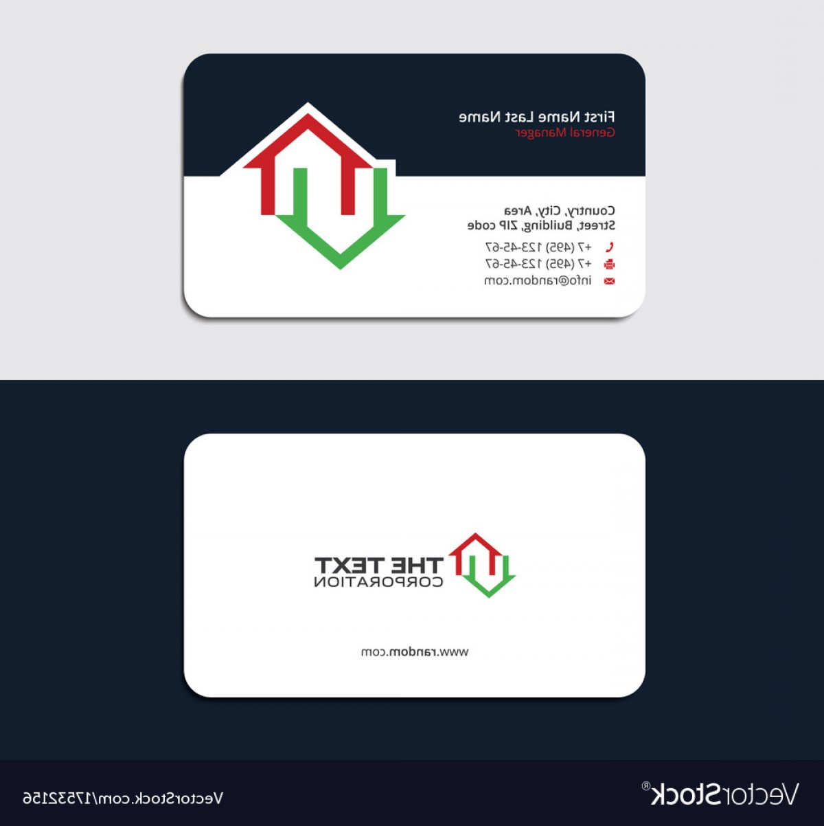 General Contractor Vector: Business Card For A Real Estate Broker Vector