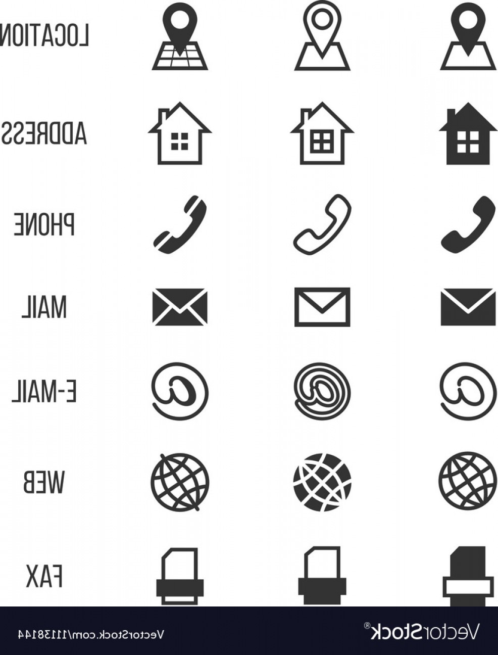 Small Email Icon Vector: Business Card Icons Home Phone Address Vector