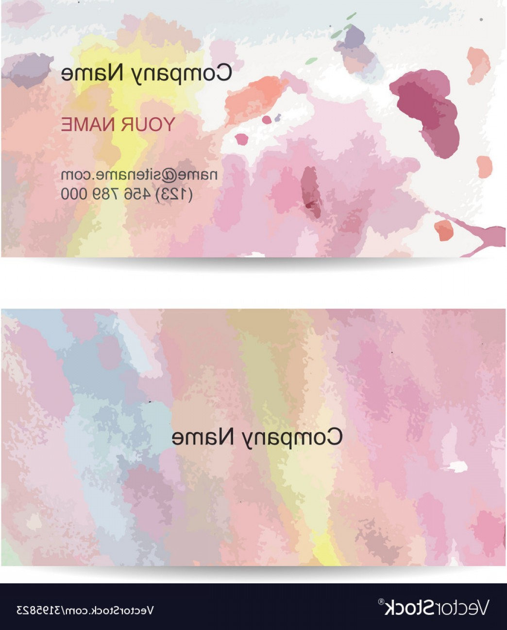 Watercolor Vector Free Designs: Business Card Template For Your Design Watercolor Vector