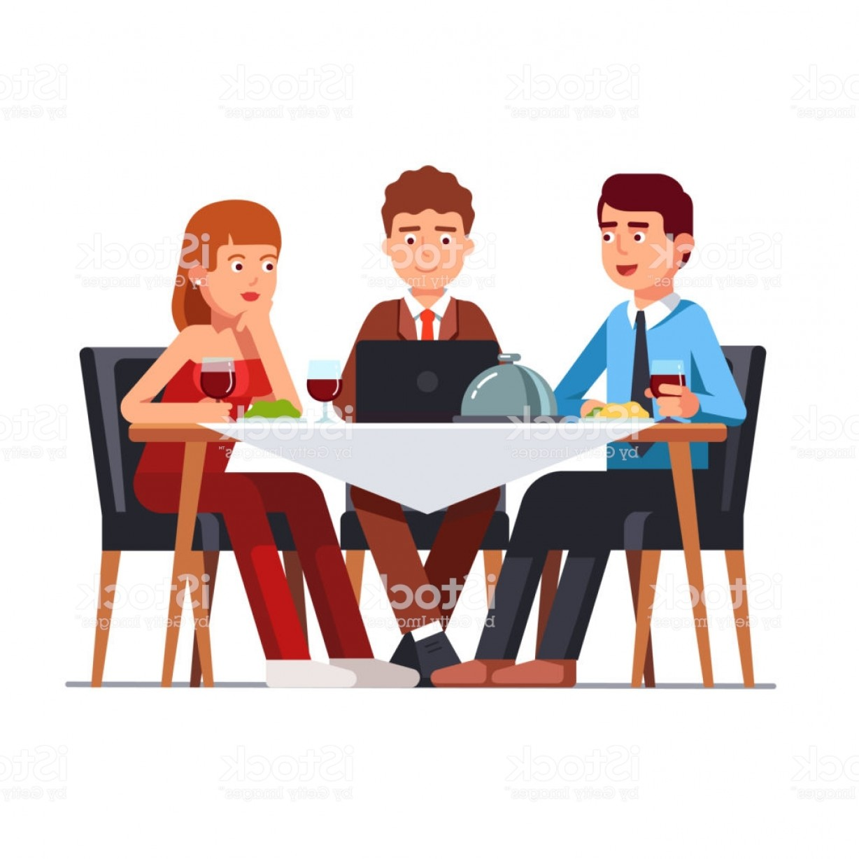 Business Lunch Clip Art Vector: Business Client Meeting At Restaurant Table Flat Vector Clipart Illustration Gm