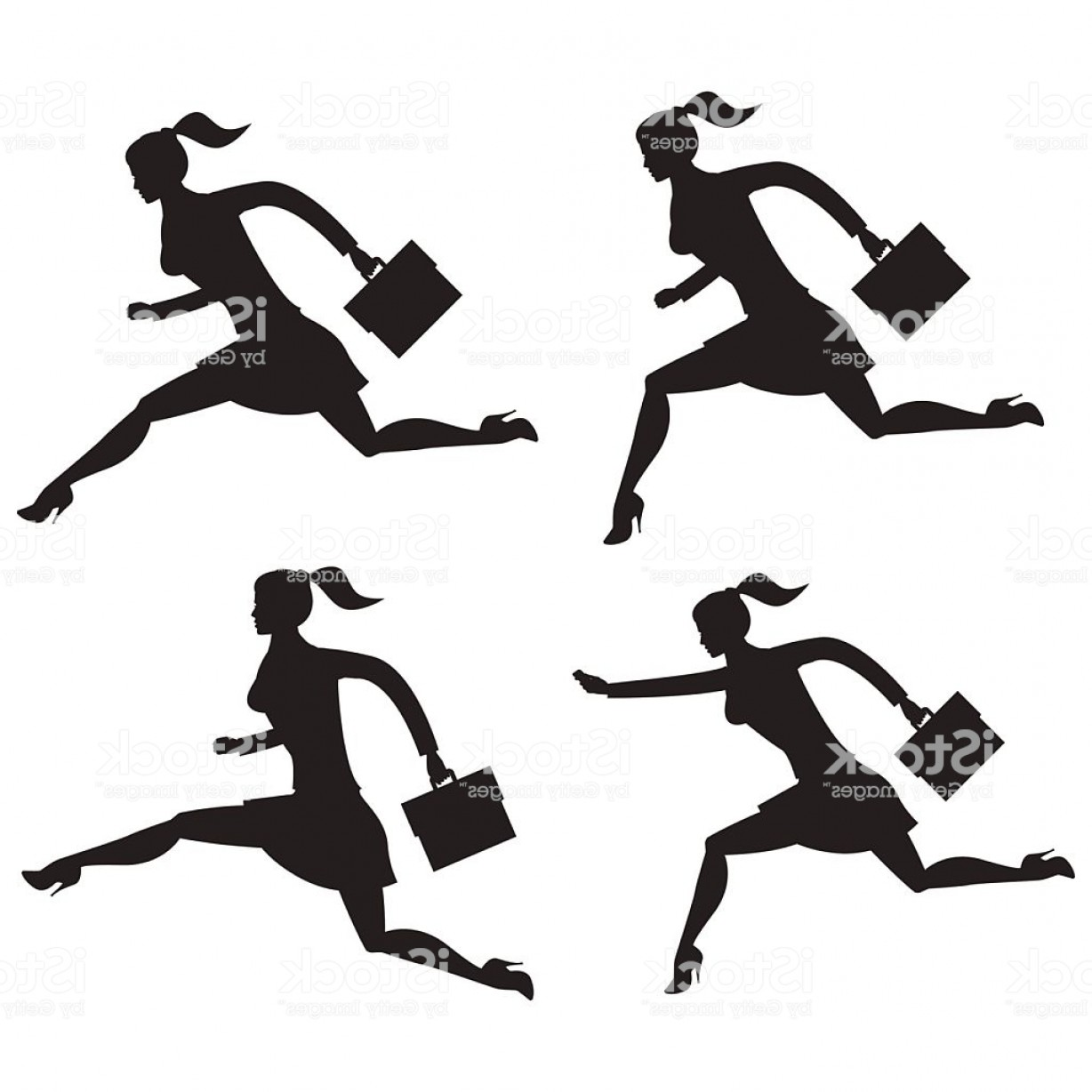 Volleyball Vector Dog Lady: Business Lady Running Set Of Silhouettes Gm
