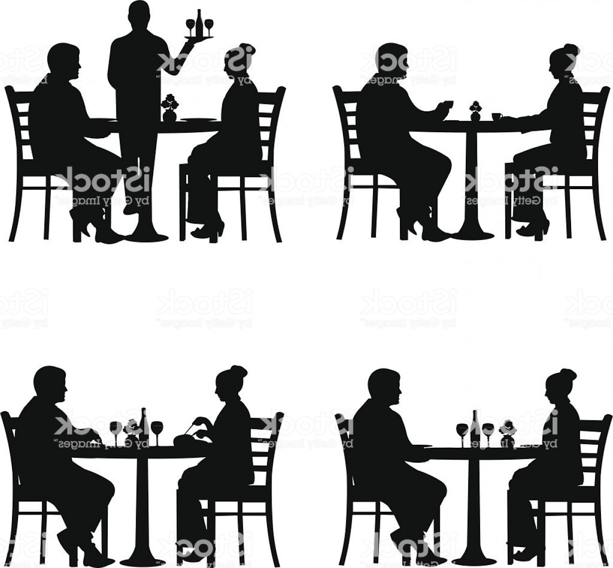 Business Lunch Clip Art Vector: Business Lunch In The Restaurant Gm