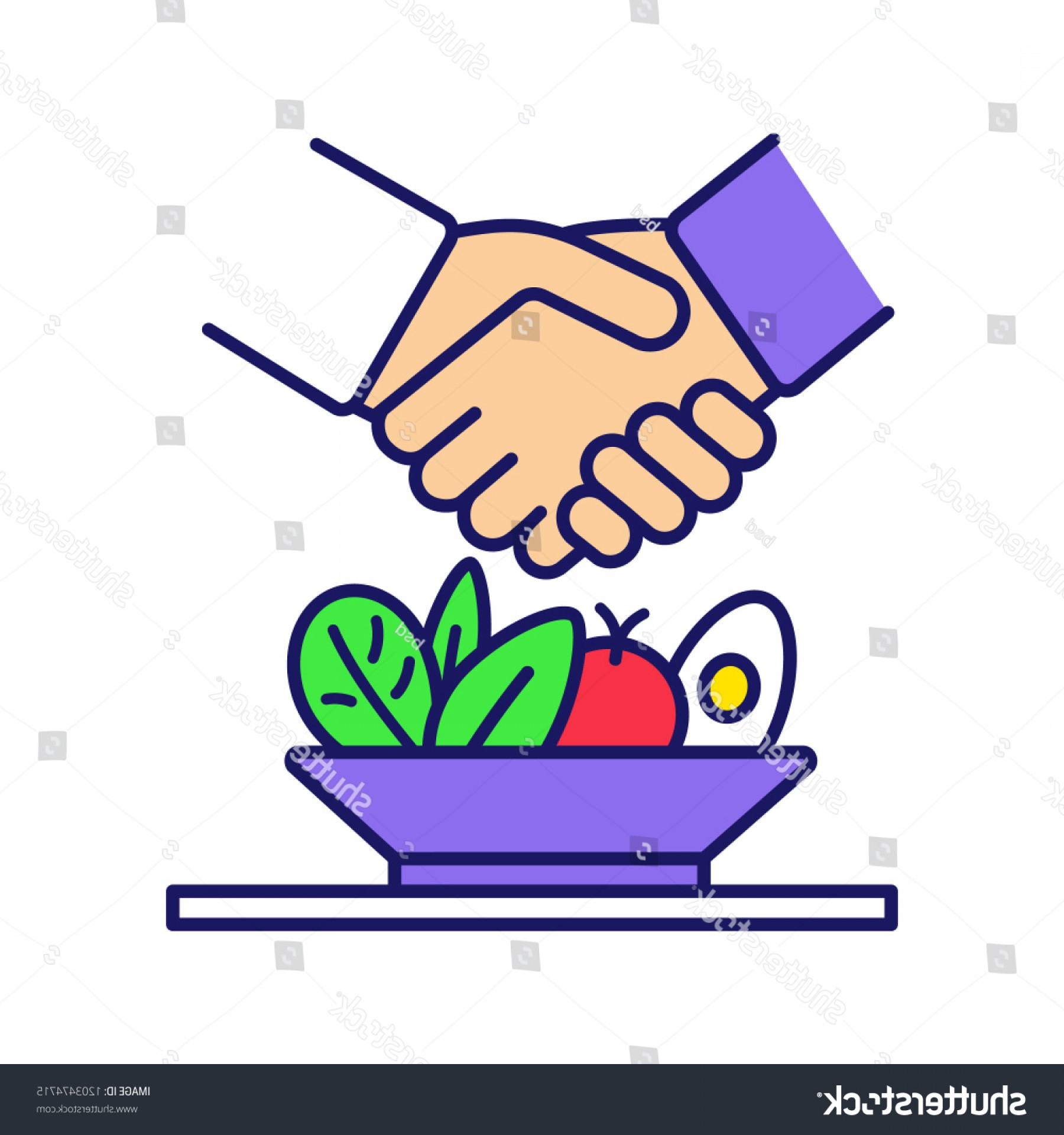 Business Lunch Clip Art Vector: Business Lunch Menu Color Icon Successful