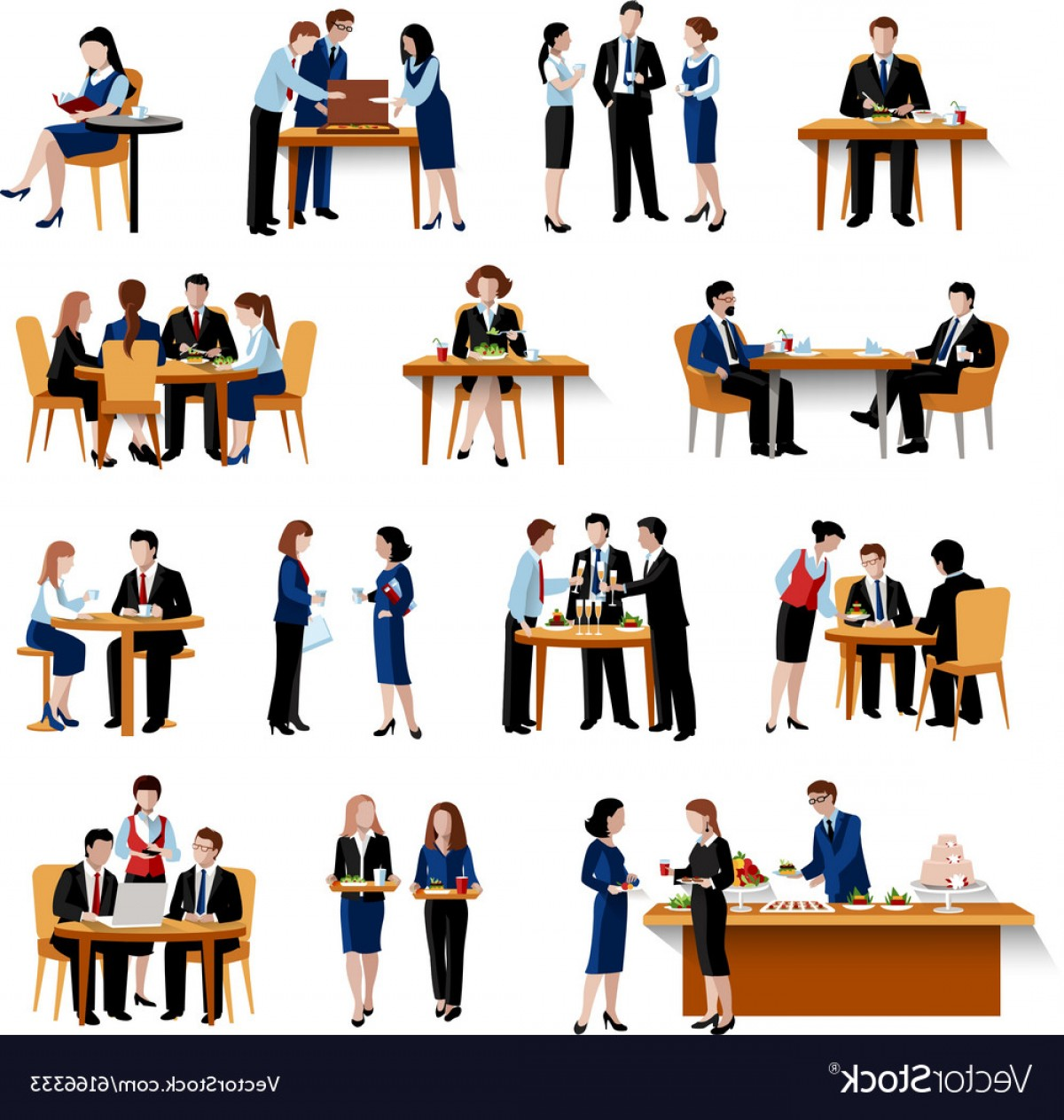Business Lunch Clip Art Vector: Business Lunch Pause Flat Icons Collection Vector