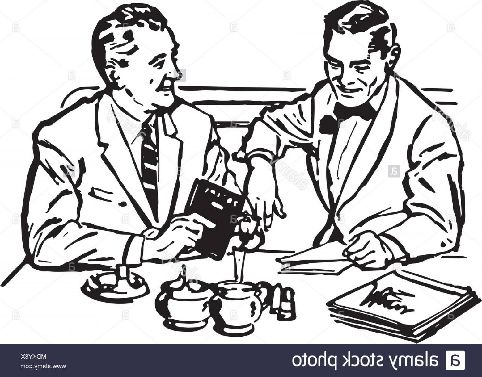 Business Lunch Clip Art Vector: Business Lunch Retro Clipart Illustration Image