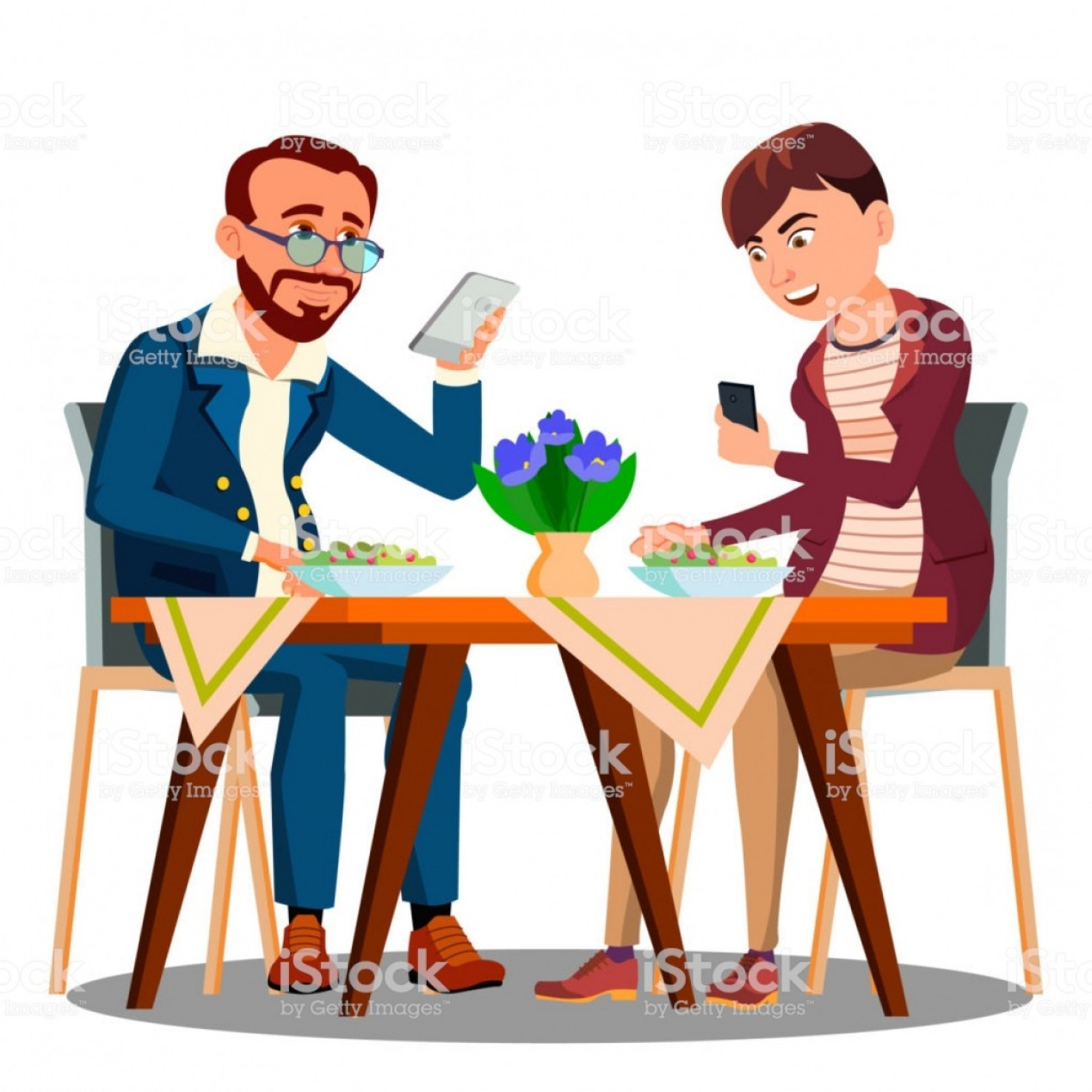 Business Lunch Clip Art Vector: Business Lunch Two People At The Table Looking In Their Phone Vector Isolated Gm
